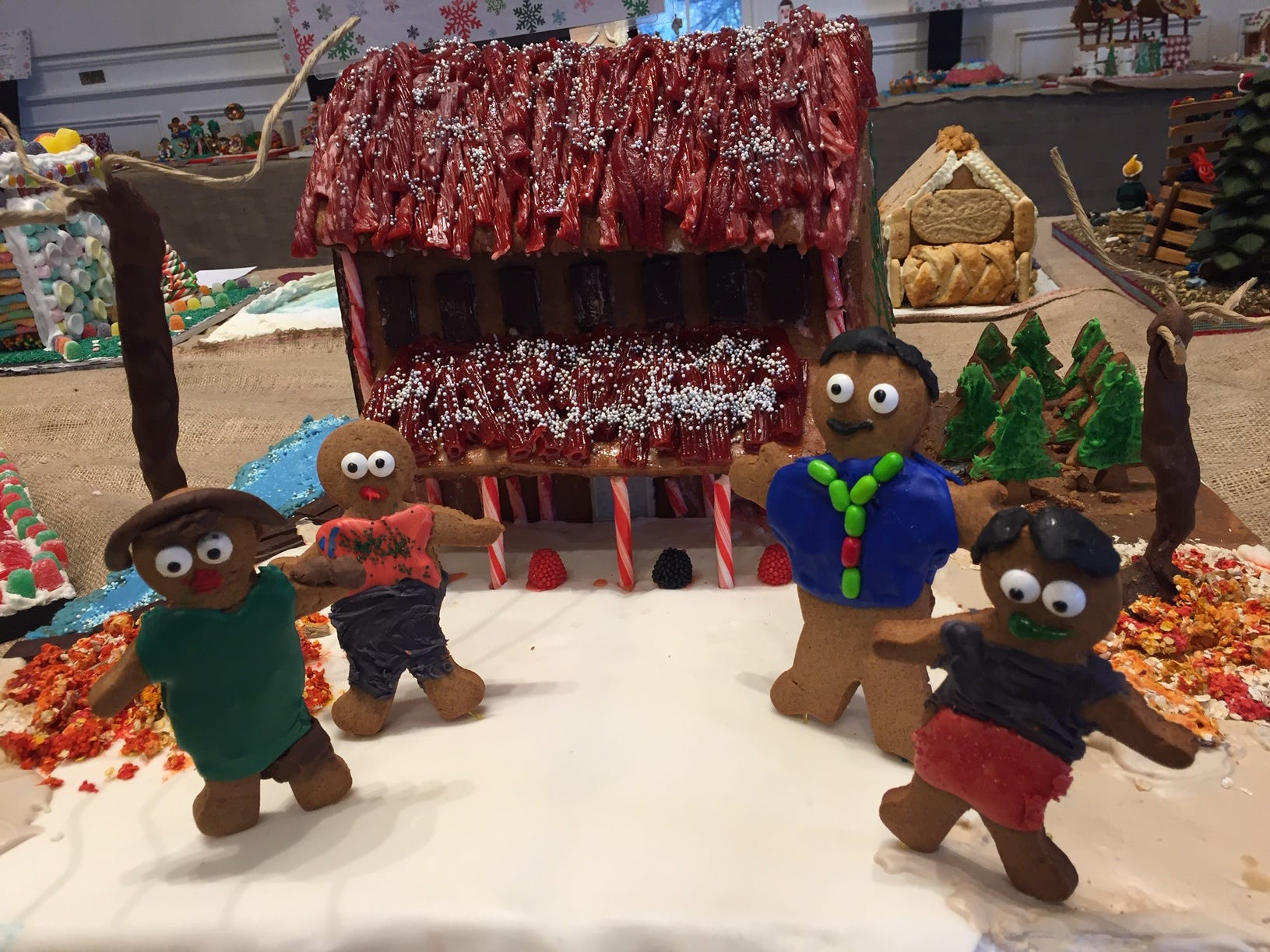 """Feltville 'Desserted' Village from the Watchung Nature Preserve by Tiff Kline and Brian Hong, Summit, at the Gingerbread Wonderland at the Frelinghuysen Arboretum. Adult category."