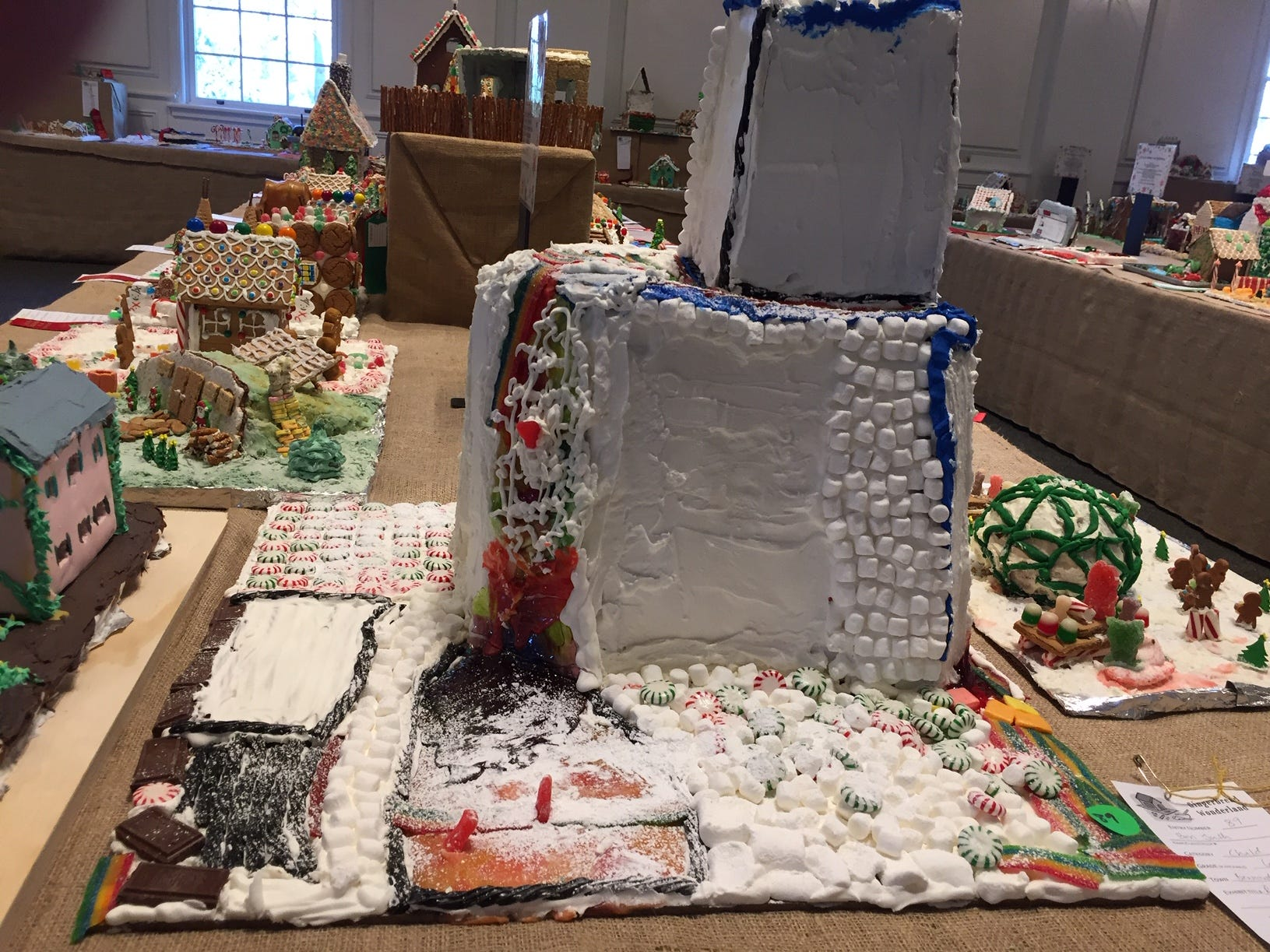 """Rainbow Mountain"" by Ben Juth of Bernardsville, sixth grade, at the Gingerbread Wonderland at the Frelinghuysen Arboretum. Child category."