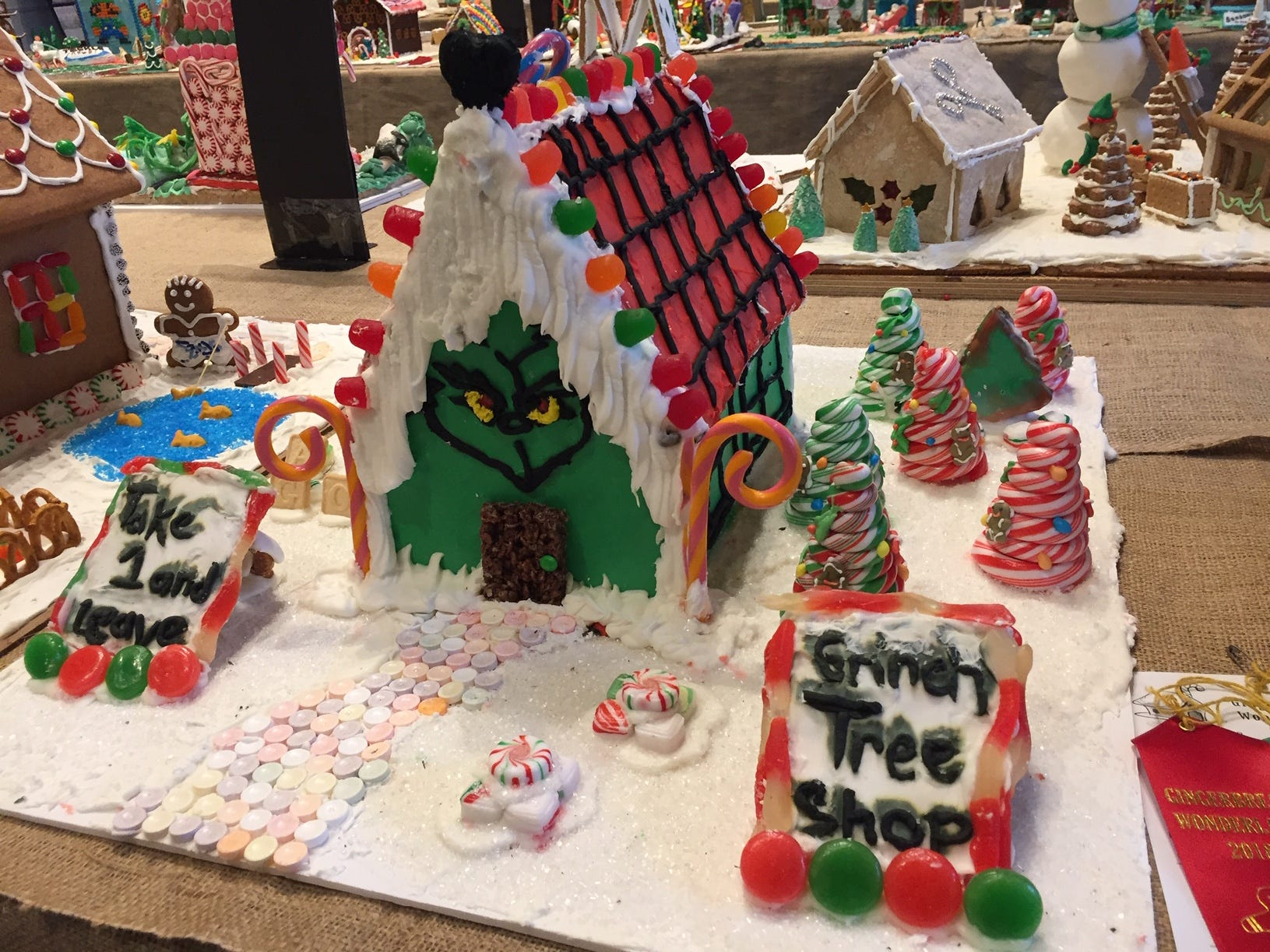 """The Grinch Christmas Tree Shoppe"" by the Marololi Family of Parsippany at the 2018 Gingerbread Wonderland at the Frelinghuysen Arboretum. Family category."