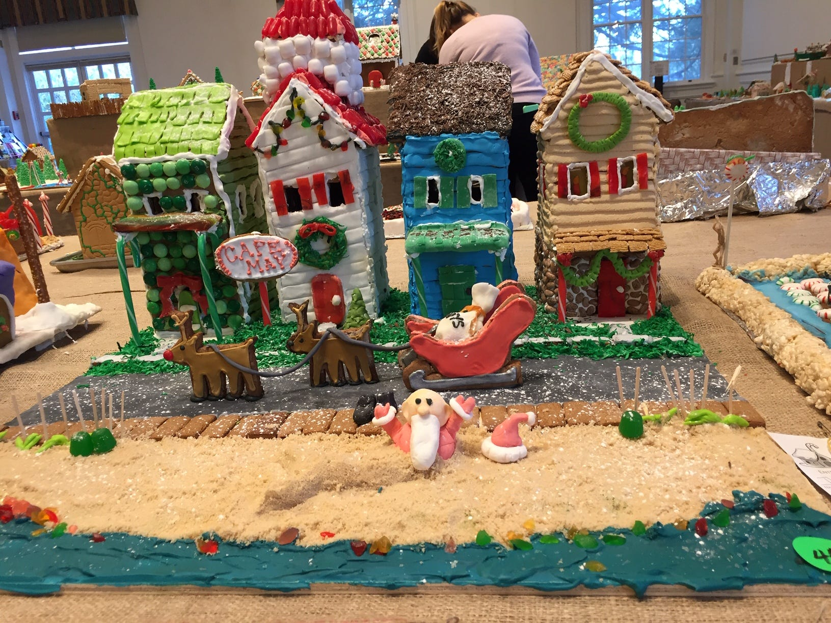 """Santa's Cape May Christmas"" by the Jarvis Family from Flanders at the 2018 Gingerbread Wonderland at the Frelinghuysen Arboretum. Family category."