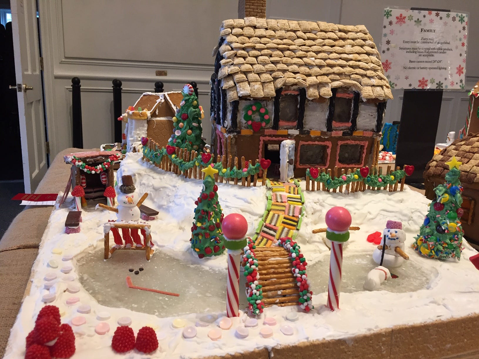 """Ice Fishing"" by the Caputo Family of Millington at the 2018 Gingerbread Wonderland at the Frelinghuysen Arboretum. Family category."