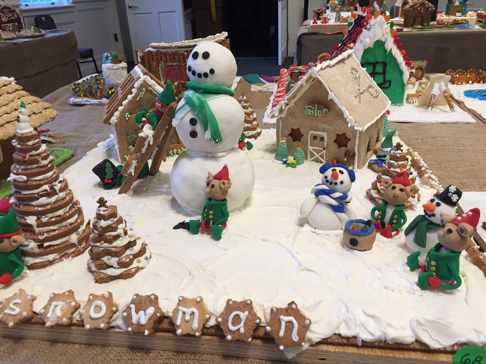"""Snowman Workshop"" by the McNallys of Morris Plains at the 2018 Gingerbread Wonderland at the Frelinghuysen Arboretum. Family category."