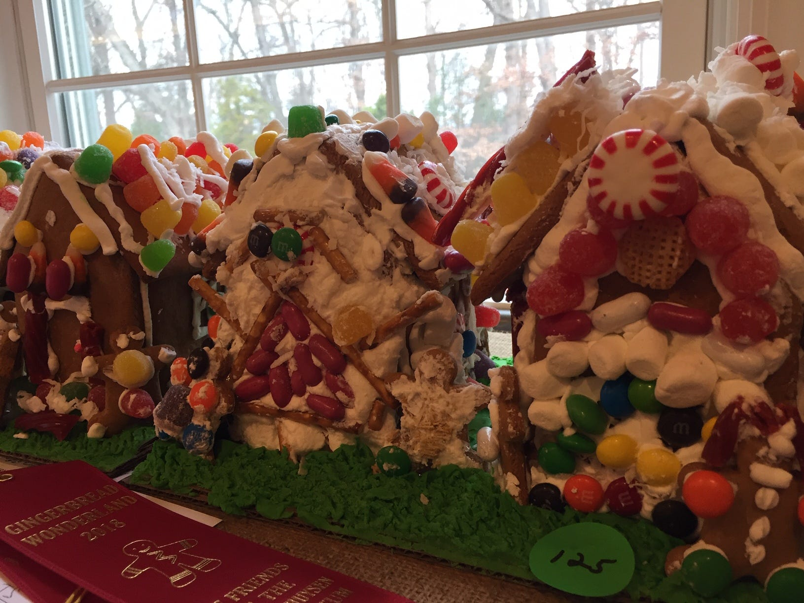 """Main Street"" by East Hanover Troop 96625, third grade, at the 2018 Gingerbread Wonderland at the Frelinghuysen Arboretum. Scout category."