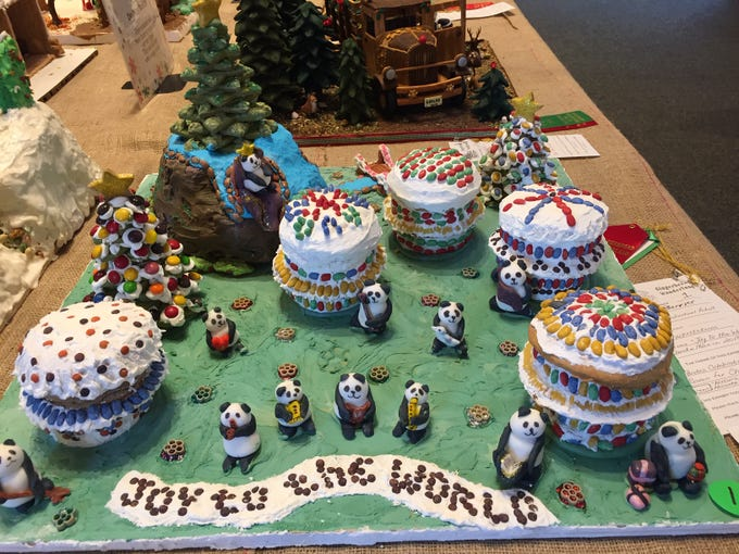 """Joy to the World"" Panda Mania 2018 by Joyce Barrier of Hackettstown at the Gingerbread Wonderland at the Frelinghuysen Arboretum. Adult category."
