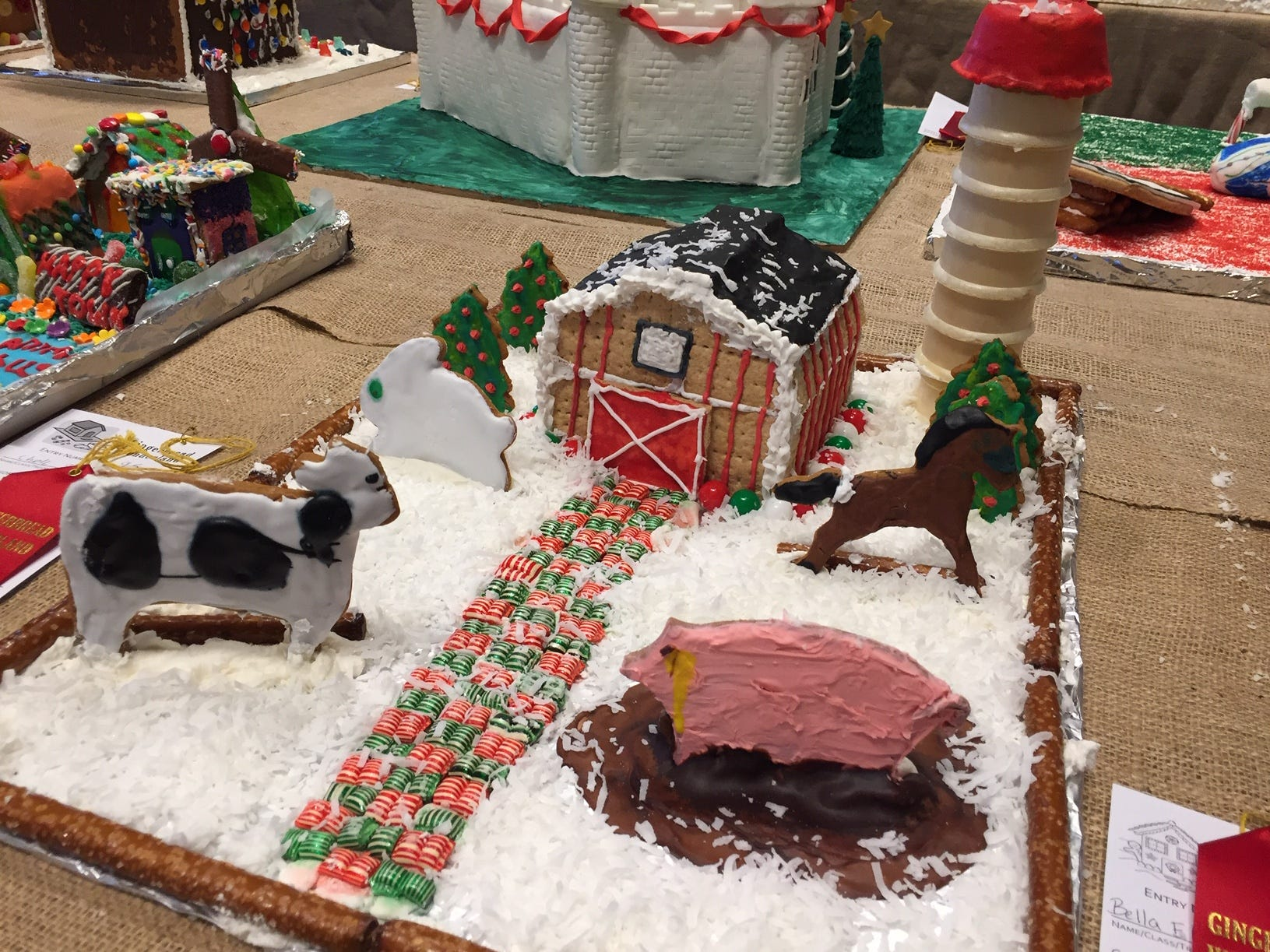 """Gingerbread Barnyard"" by Bella Eberhardt and Alyssa Ezell of Morristown at the Gingerbread Wonderland at the Frelinghuysen Arboretum. Child category."