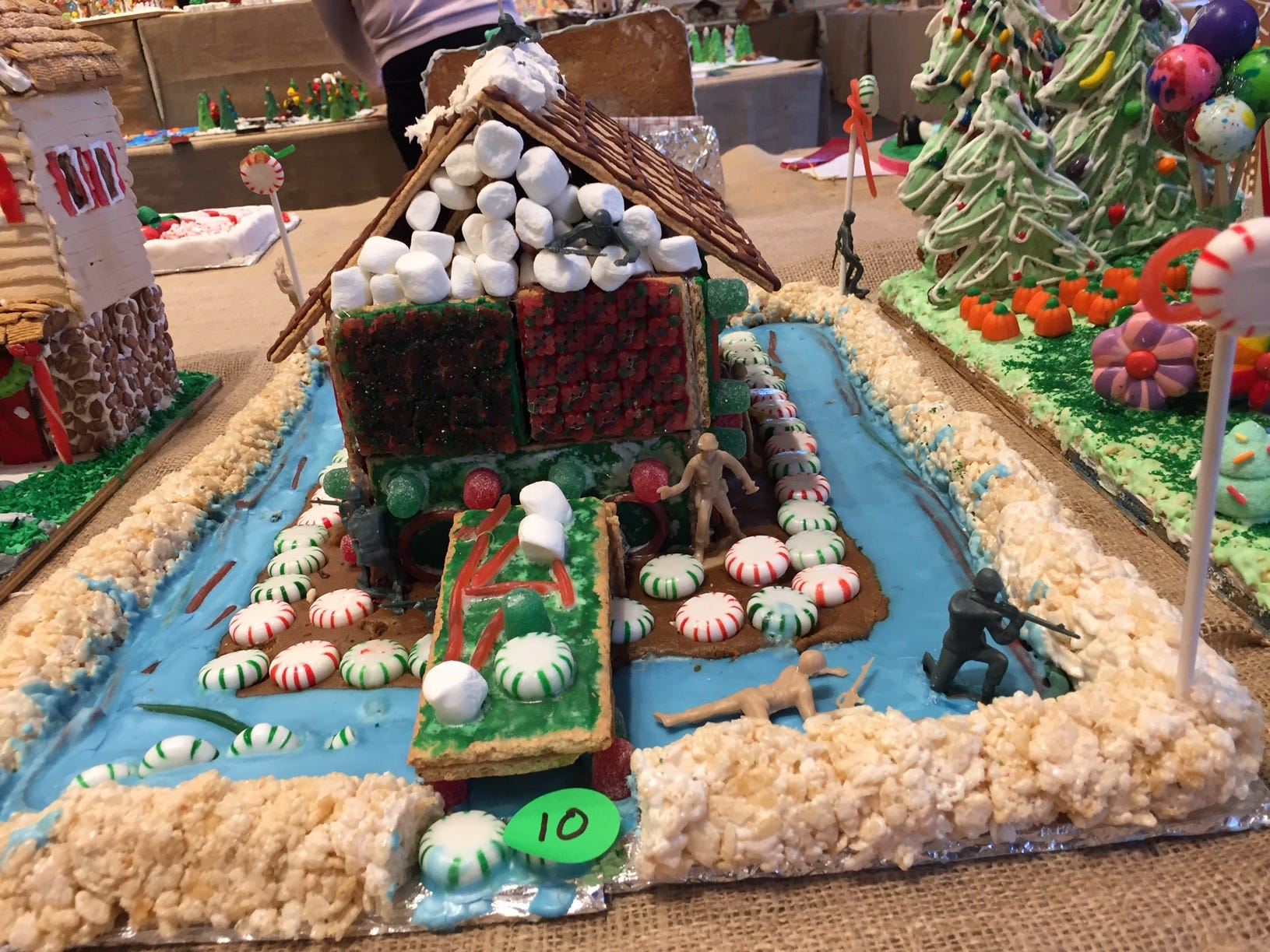 """Beat Navy Christmas House"" by the Thomlinson Family of Mt. Olive at the 2018 Gingerbread Wonderland at the Frelinghuysen Arboretum. Family category."