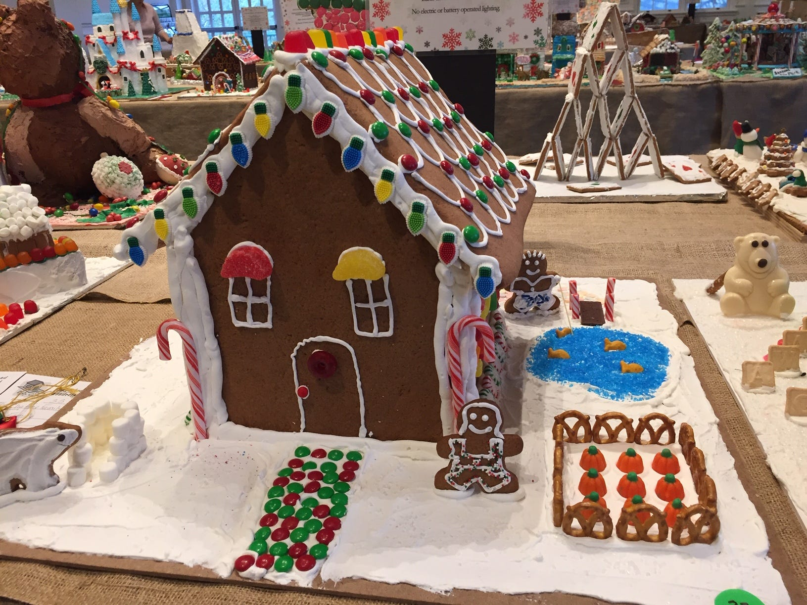 """A Cozy Cottage"" by the Chaffee Family of Parsippany at the 2018 Gingerbread Wonderland at the Frelinghuysen Arboretum. Family category."