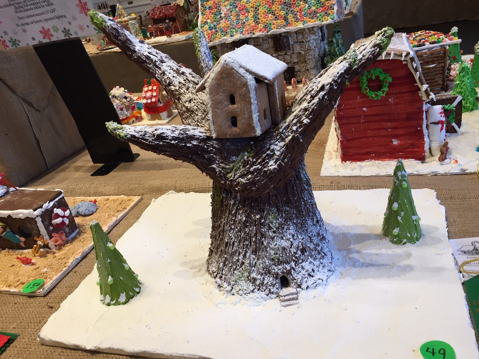 """Gingerbread Tree House"" by Quinn Walmer of Bridgewater, seventh grade, at the Gingerbread Wonderland at the Frelinghuysen Arboretum. Child category."