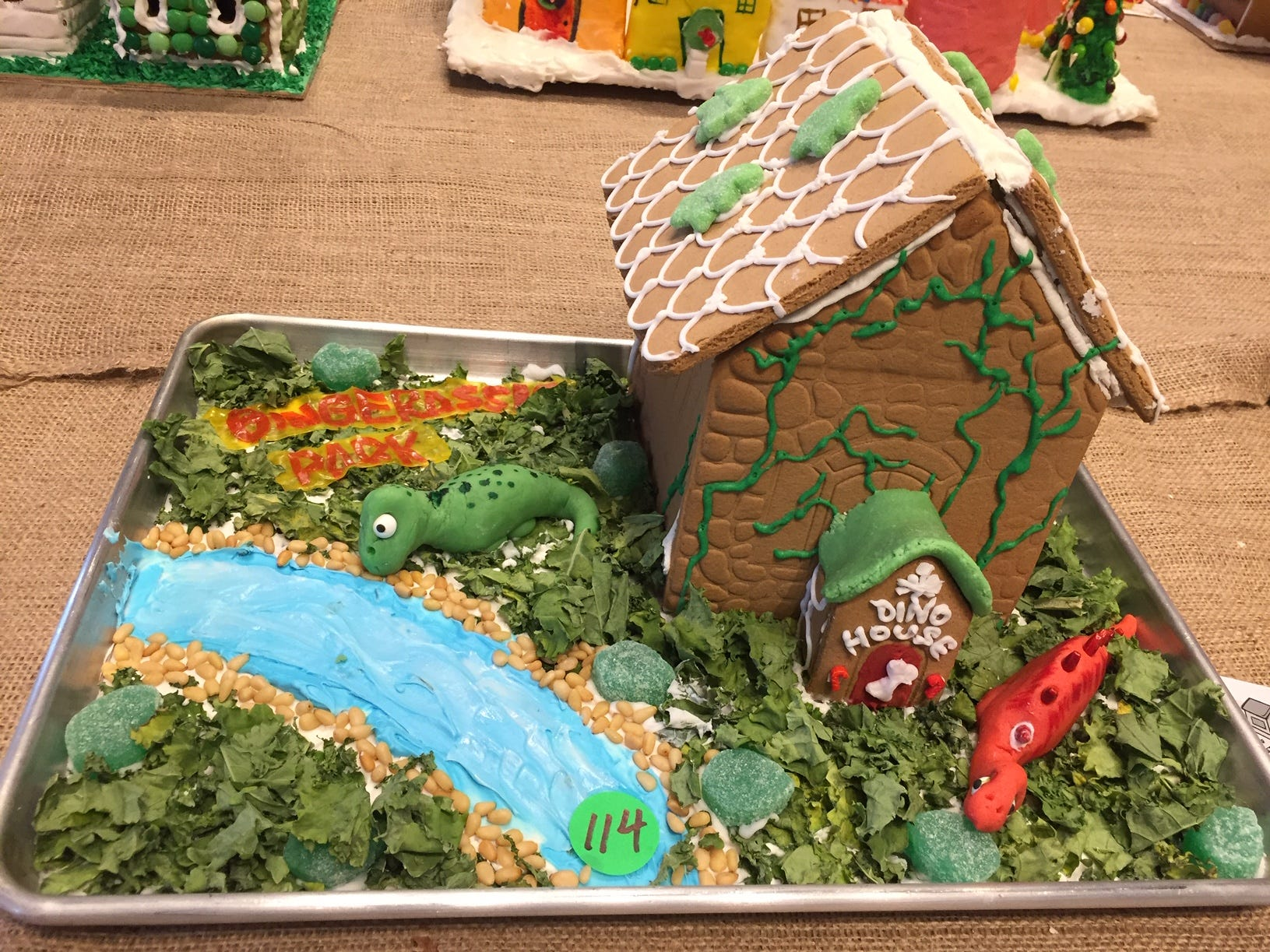 """Gingerassic Park"" by Crofton, Elizabeth and Henry of Maplewood, third and 10th grade, at the Gingerbread Wonderland at the Frelinghuysen Arboretum. Child category."