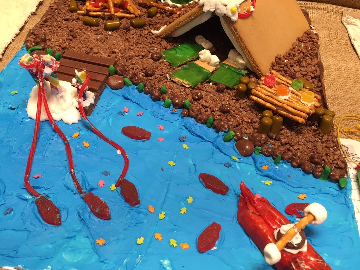"""Camping is the Best!"" by The Ghedina Kids, JJ, Larissa and Reagan, of Whippany, PreK, grades 2-3, at the Gingerbread Wonderland at the Frelinghuysen Arboretum. Child category."