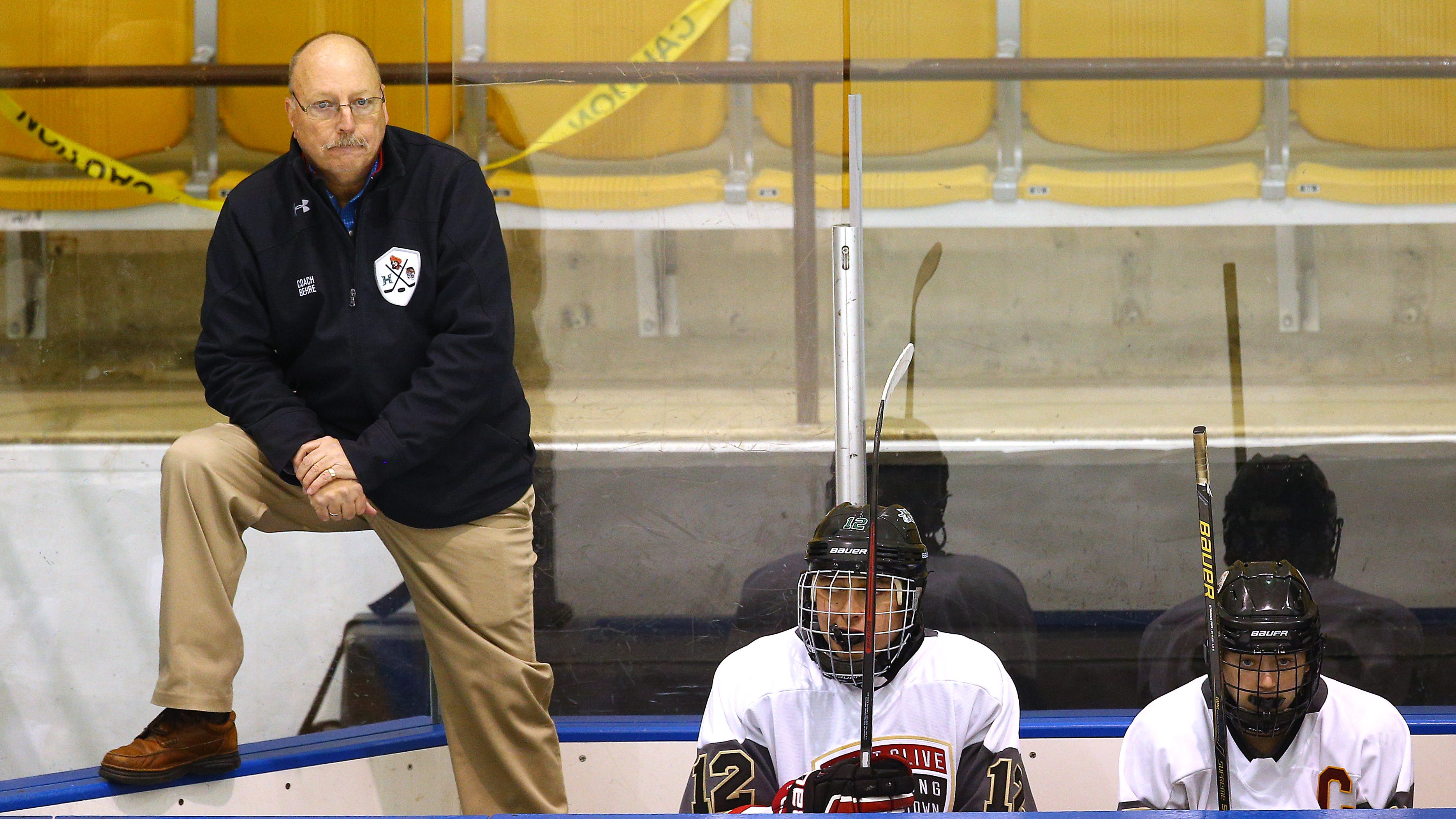 Mount Olive/Hopatcong/Hackettstown coach Mike Behre earns his 100th victory of his hockey coaching career, beating Newton/Lenape Valley at Mennen Sports Arena. November 29, 2018, Morris Twp, NJ