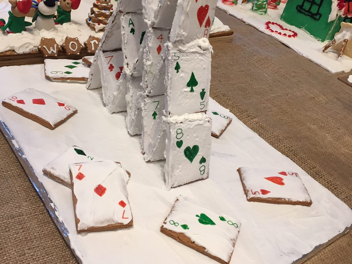 """House of Cards"" by Lyla Walmer and Hannah Quamme of Bridgewater at the 2018 Gingerbread Wonderland at the Frelinghuysen Arboretum. Adult/Child category."