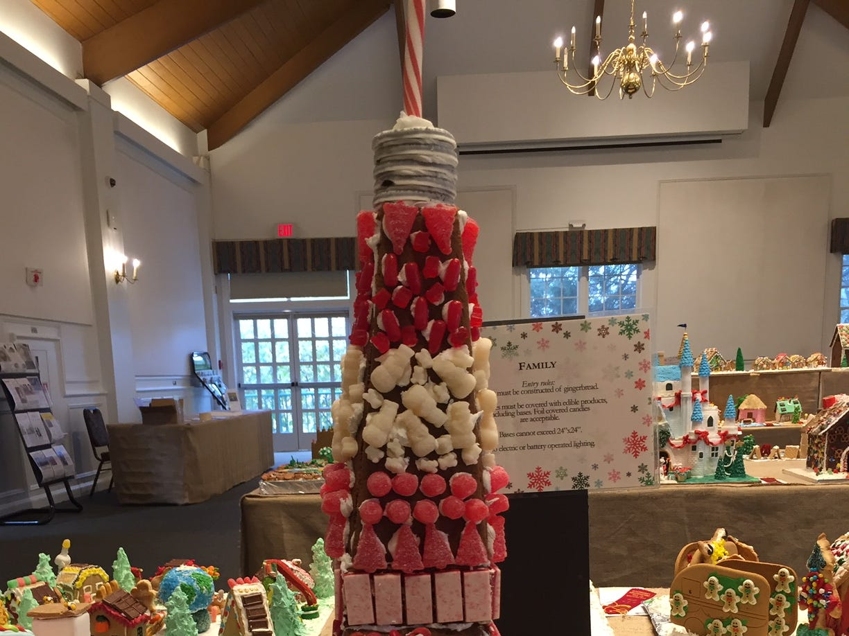 """Tokyo Tower"" by the Rowe Family of Parsippany at the 2018 Gingerbread Wonderland at the Frelinghuysen Arboretum. Family category."