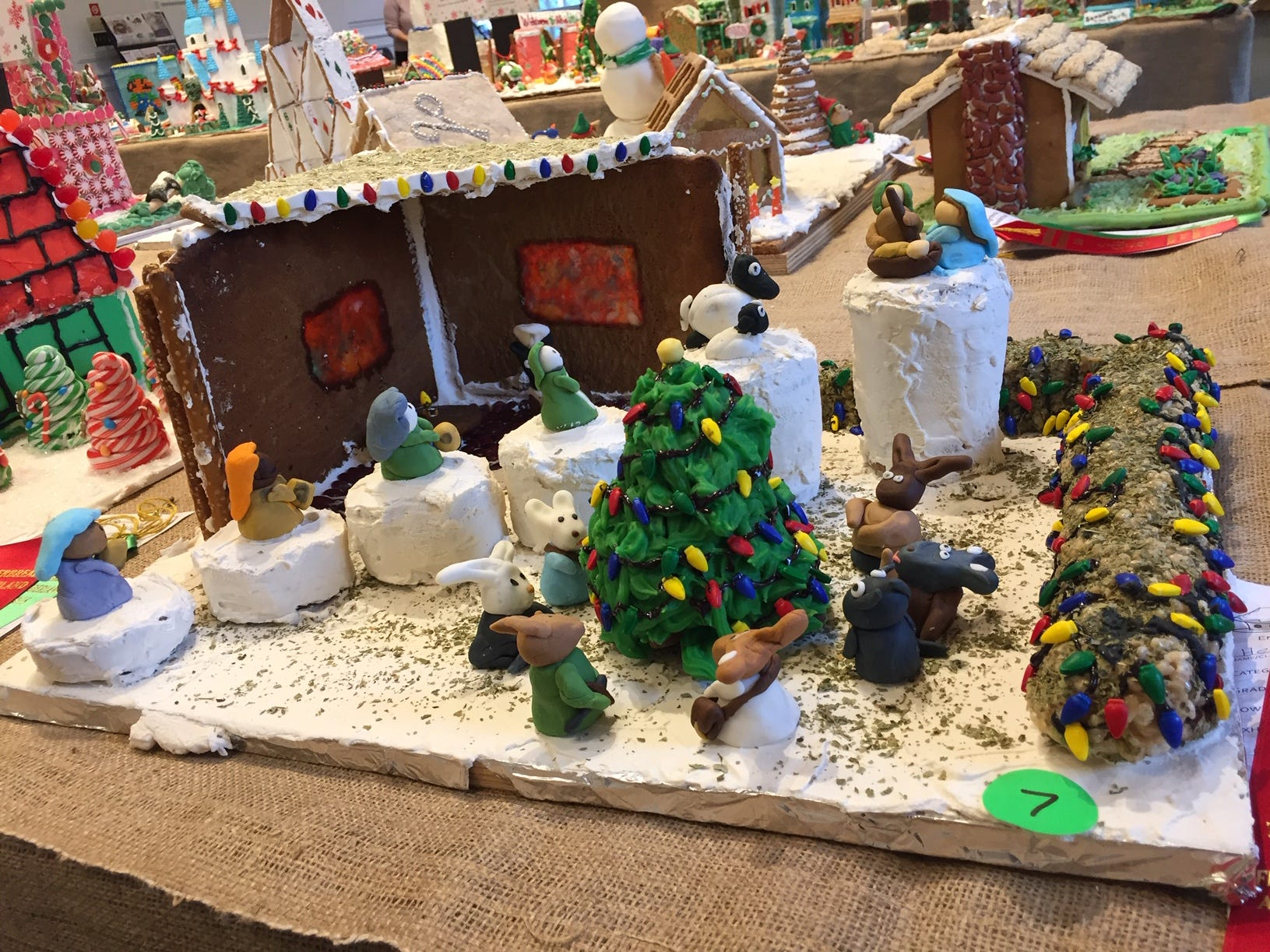 """Christmas at Cloud Mountain"" by the Herold Family of Morristown at the 2018 Gingerbread Wonderland at the Frelinghuysen Arboretum."