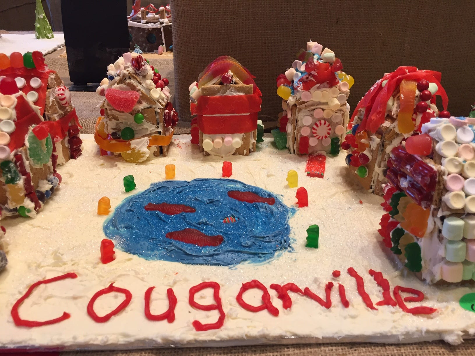 """Cougarville"" by Central Middle School, Parsippany, grades 6-8, at the Gingerbread Wonderland at the Frelinghuysen Arboretum. Special Needs category."