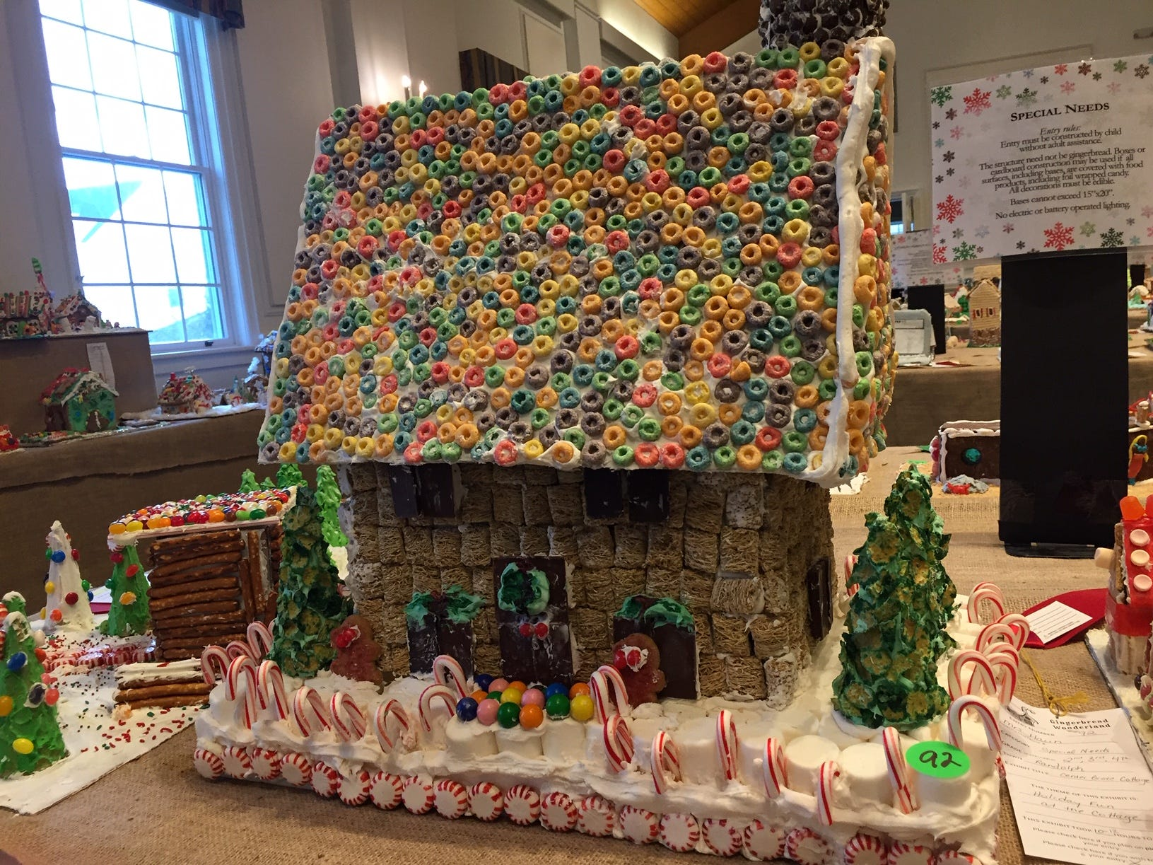 """Center Grove Cottage"" by Mrs. Haun's classes, Randolph, grades 2-4, at the Gingerbread Wonderland at the Frelinghuysen Arboretum. Special Needs category."