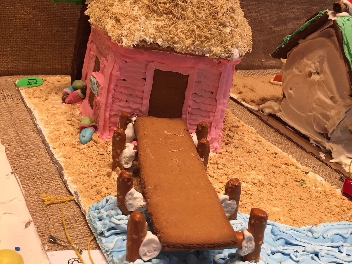 """Tropical Bait Shop"" by Haley Klouse of Lincoln Park, eighth grade, at the Gingerbread Wonderland at the Frelinghuysen Arboretum. Child category."