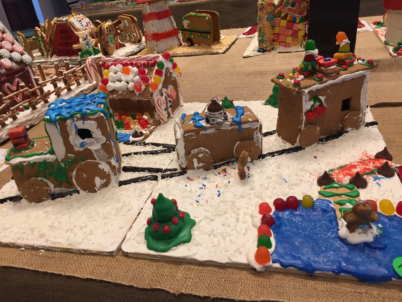 """The Polar Express""' by the Bartiromo Family of Berkeley Heights at the 2018 Gingerbread Wonderland at the Frelinghuysen Arboretum. Family category."