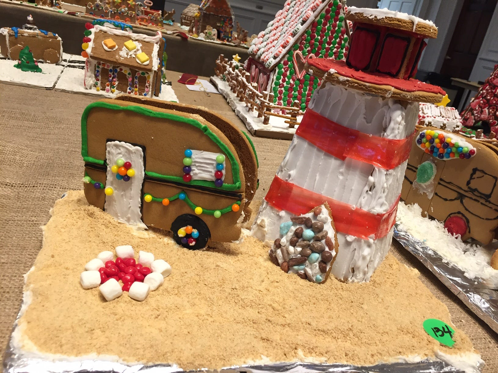 """RV Camping in Montauk"" from Mendham at the 2018 Gingerbread Wonderland at the Frelinghuysen Arboretum. Family category."