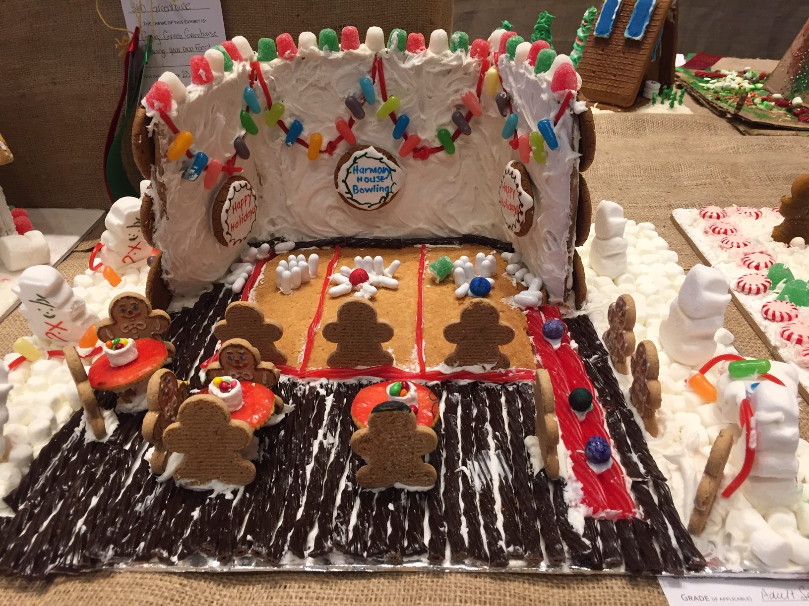 """Harmony House Bowling"" by Harmony House Adult Day Center, Madison, at the Gingerbread Wonderland at the Frelinghuysen Arboretum. Special Needs category."