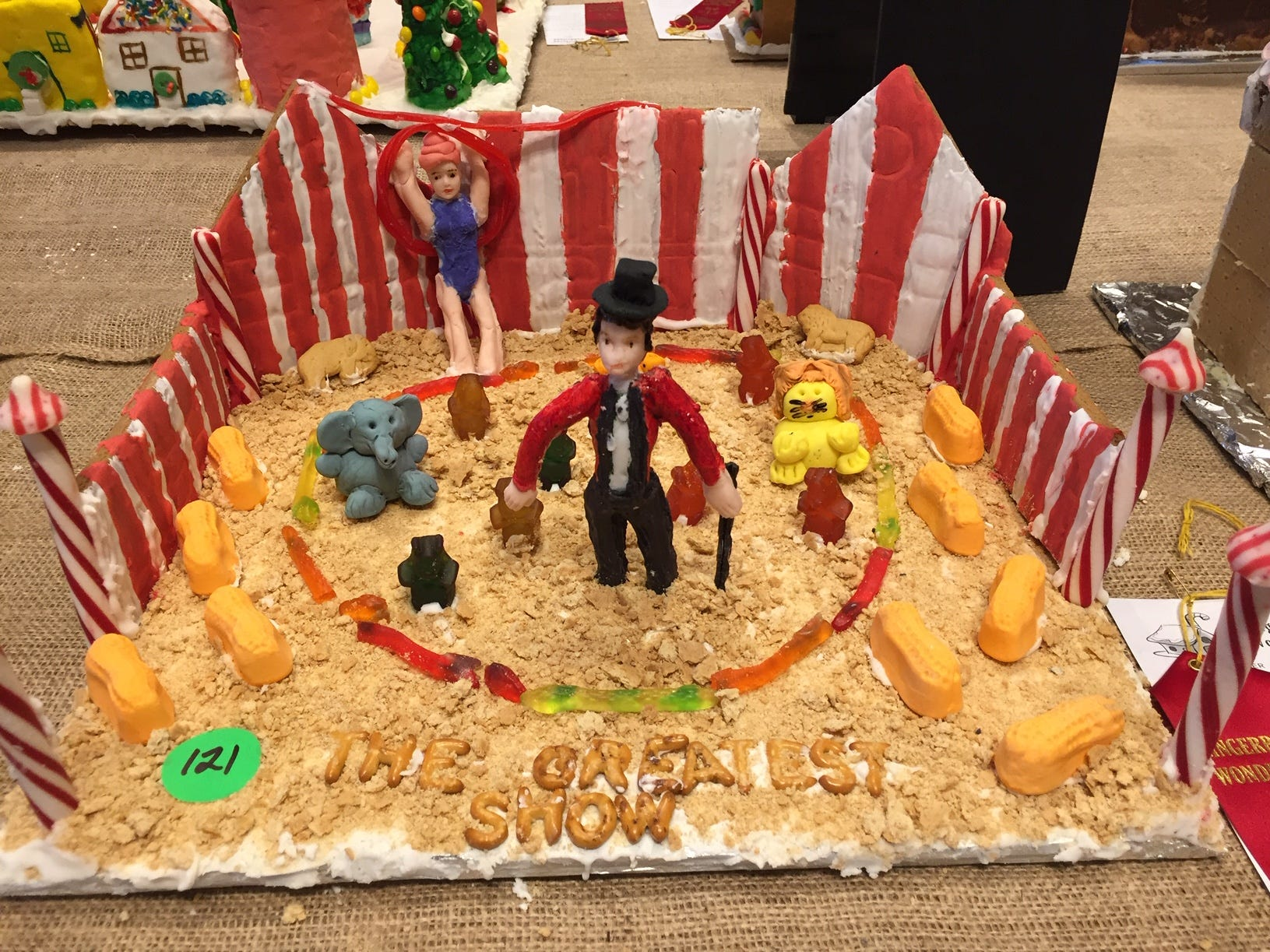 """The Greatest Show"" by Sophie Marks of Parsippany, fourth grade, at the Gingerbread Wonderland at the Frelinghuysen Arboretum. Child category."
