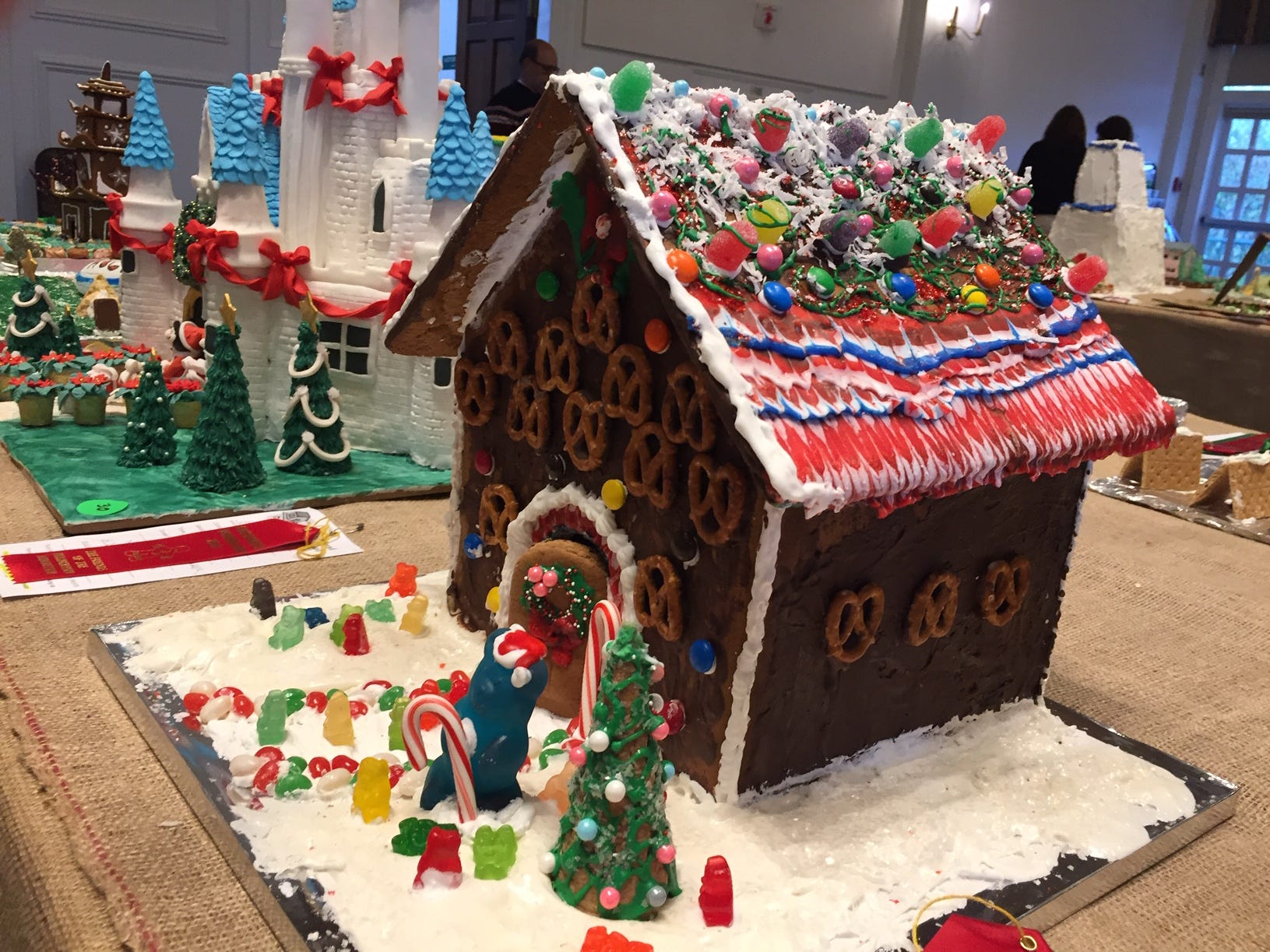 """Ginger Beer House"" by the Zipf Family of Nutley at the 2018 Gingerbread Wonderland at the Frelinghuysen Arboretum. Family category."