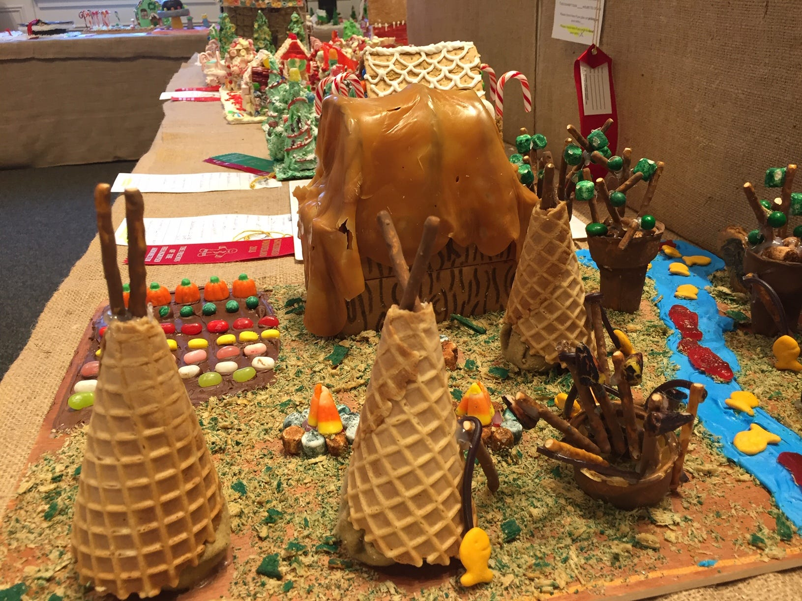 """Schenkinoles Tribe"" by Mrs. Schenk's Class, Whippany, grades 6-8, at the Gingerbread Wonderland at the Frelinghuysen Arboretum. Special Needs category."