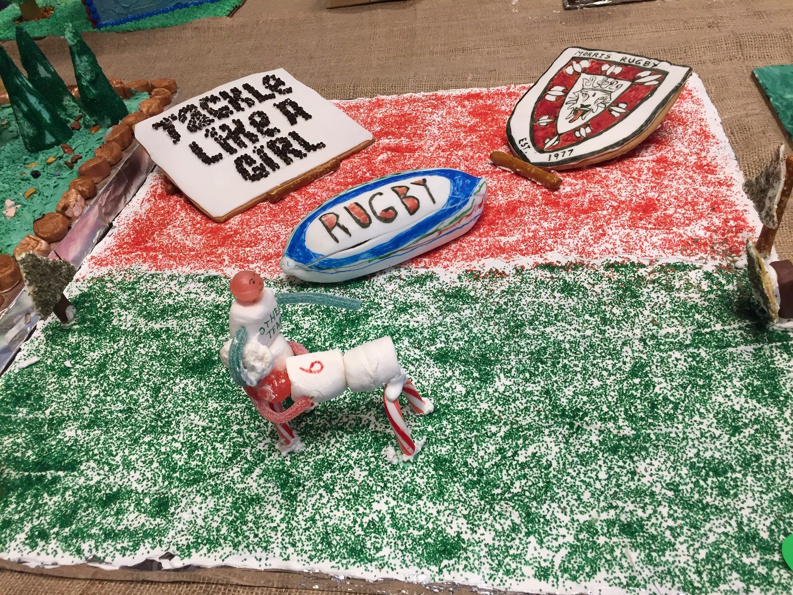 """Play Rugby!"" by the Hoernng Family of Long Valley at the 2018 Gingerbread Wonderland at the Frelinghuysen Arboretum. Family category."