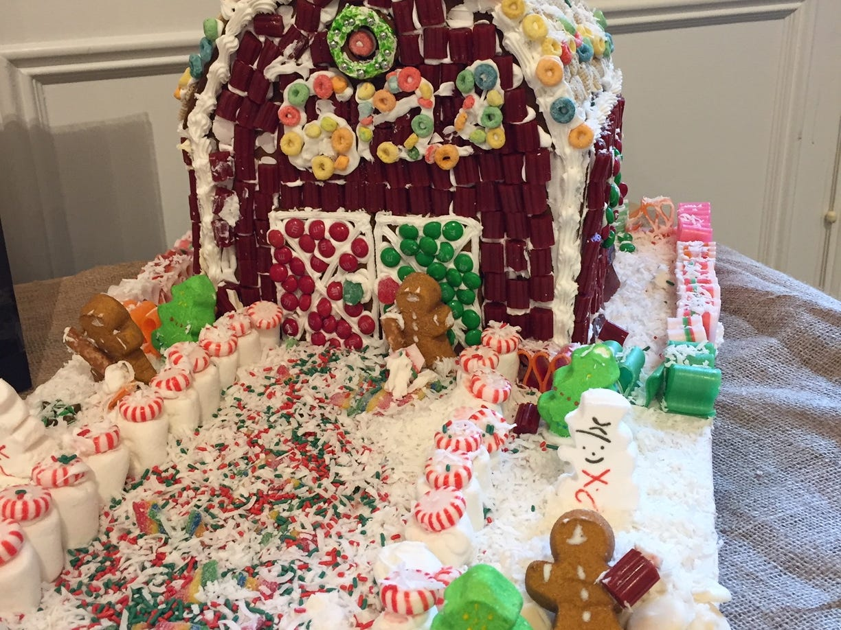 """Fat Santa"" by Randolph Scout Troop 6128, fifth grade, at the 2018 Gingerbread Wonderland at the Frelinghuysen Arboretum. Scout category."