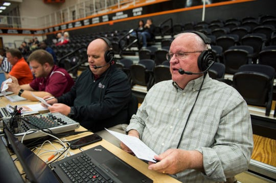 George Starr does a radio broadcast at the Lee University vs. Auburn University at Montgomery women's basketball game in Montgomery, Ala., on Thursday, Nov. 29, 2018.
