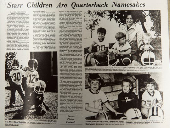 A newspaper clipping from when the Starr family was featured in the Cleveland Banner photographed in Montgomery, Ala., on Thursday, Nov. 29, 2018. George and Joyce Starr named their three boys after Alabama quarterbacks Bart Starr, Scott Hunter Starr and Joe Willie Starr.