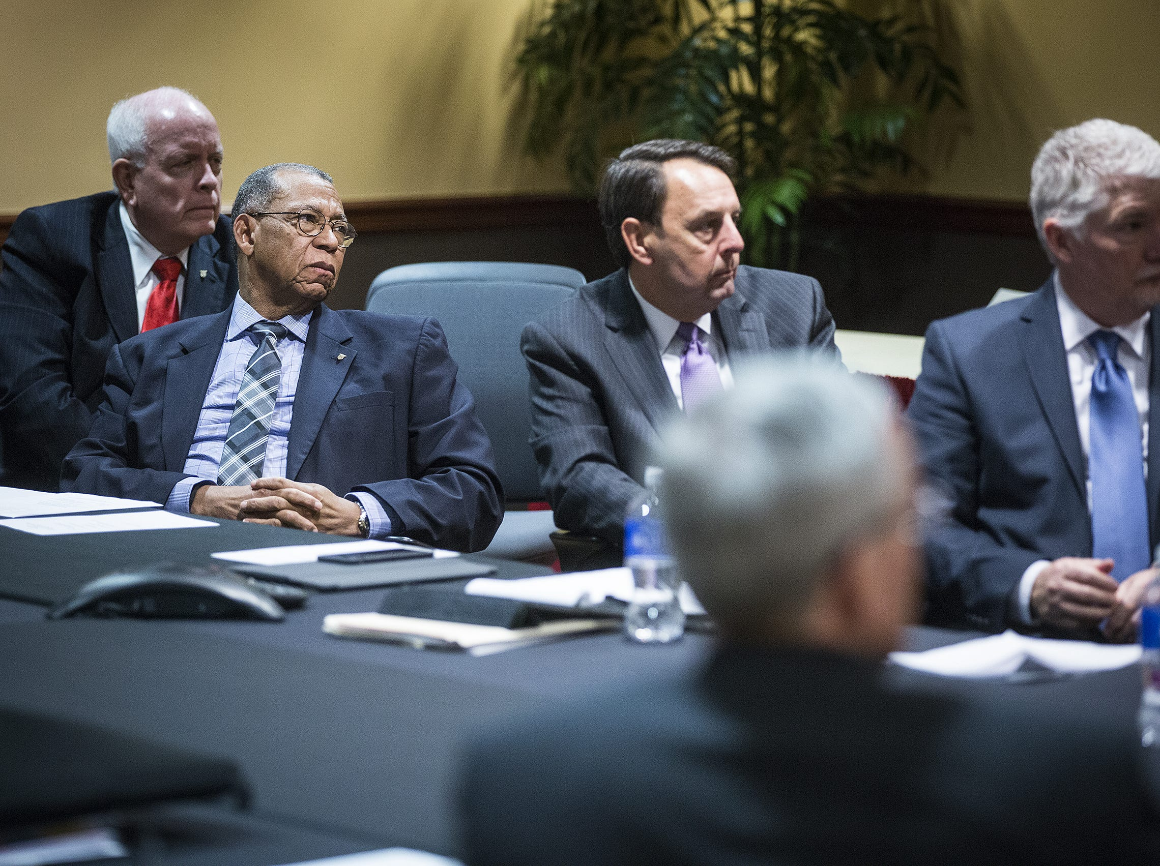 Ball State Board of Trustees members (from left) Frank Hancock, Hollis Hughes Jr. and Wayne Estopinal at ameeting at the Student Center.