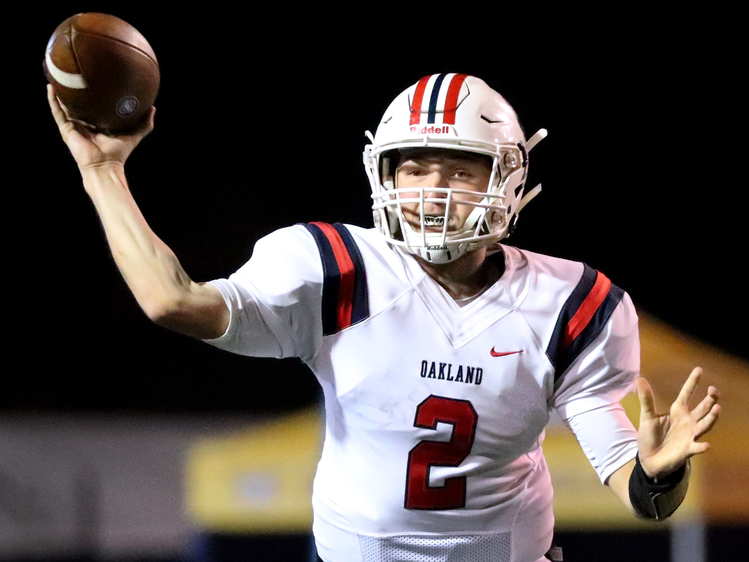 Oakland's quarterback Brevin Linnell (2) passes the ball against Whitehaven during the 6A State Championship BlueCross Bowl game on Thursday, Nov. 29 2018.