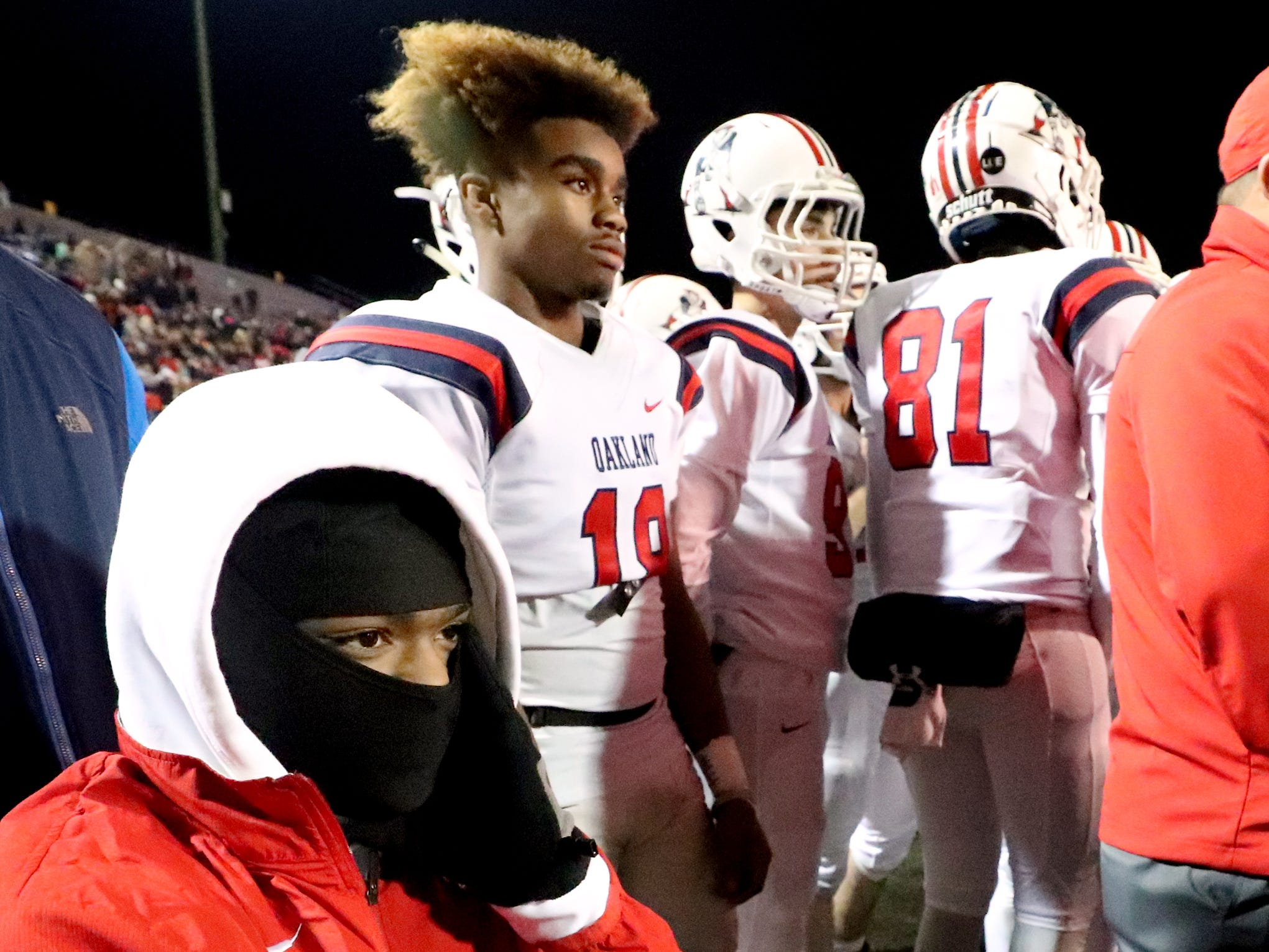 Oakland's Jalen Locklayer (3) on the sidelines with the team during the 6A State Championship BlueCross Bowl game against Whitehaven, on Thursday, Nov. 29 2018.