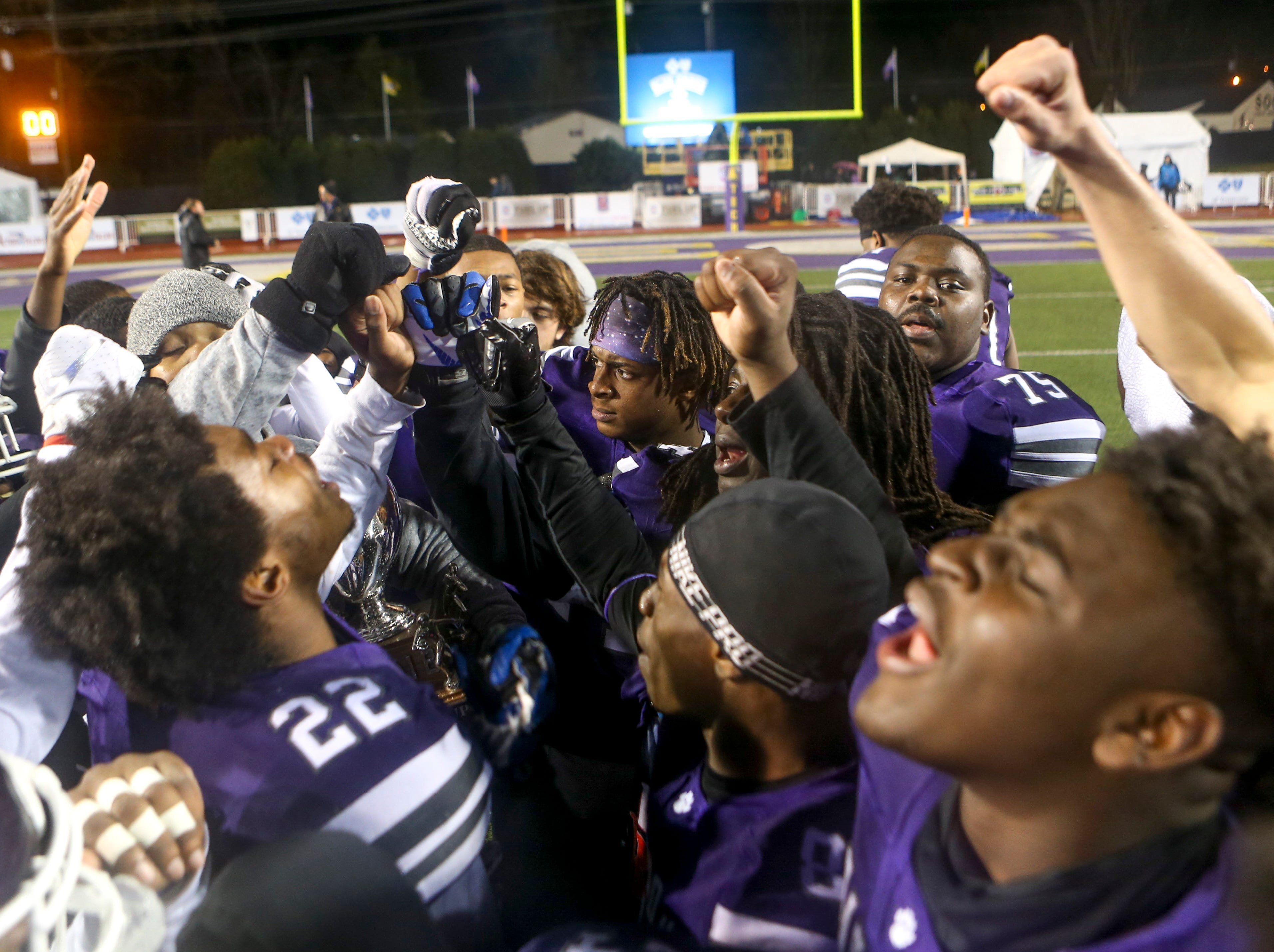 For one last time in the 2018 season the Haywood Tomcats throw fists up and chant as a team after losing the Class 4A Blue Cross Bowl between Haywood and Greeneville at Tennessee Tech's Tucker Stadium in Cookeville, Tenn., on Thursday, Nov. 29, 2018.