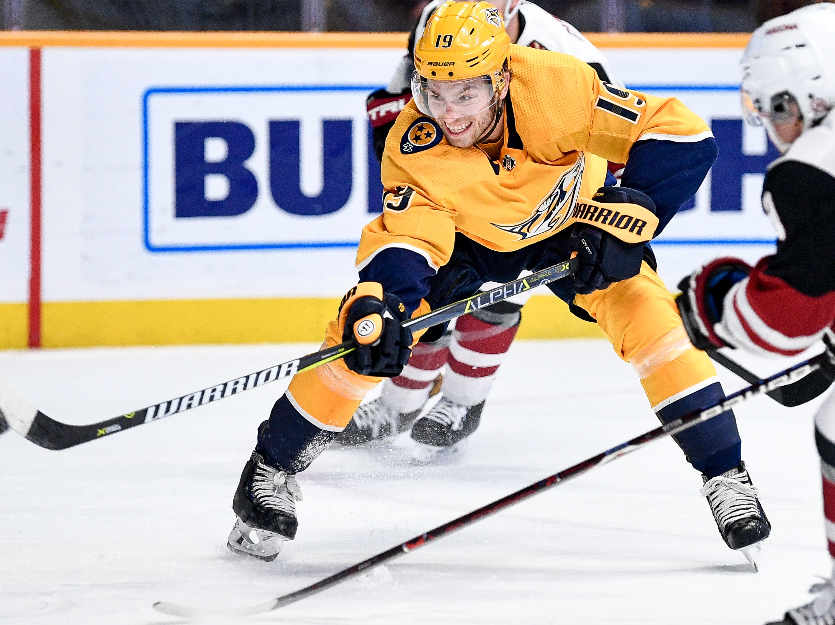 Nashville Predators center Calle Jarnkrok (19) shoots against the Arizona Coyotes during the third period at Bridgestone Arena in Nashville, Tenn., Thursday, Nov. 29, 2018.