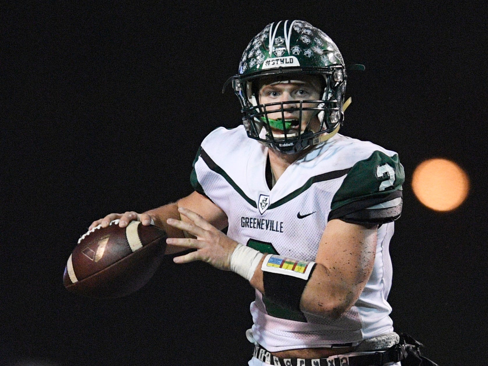 Greeneville's Cade Ballard (2) looks to pass in the second half of the team's Class 4A BlueCross Bowl state championship at Tennessee Tech's Tucker Stadium in Cookeville, Tenn., on Thursday, Nov. 29, 2018.