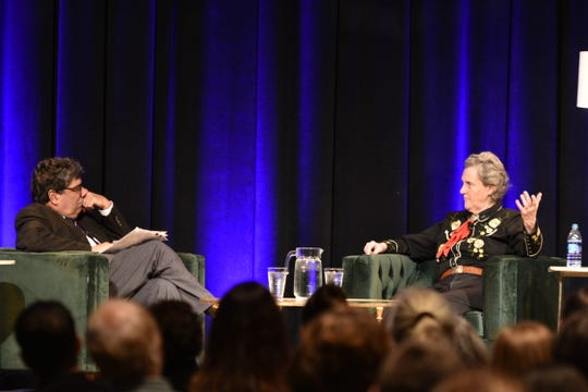 Vanderbilt University Chancellor Nicholas S. Zeppos, left, speaks with  author and professor Temple Grandin as part of the 2018 Chancellor's Lecture series on Thursday, Nov. 29, 2018 in Vanderbilt's Student Life Center.