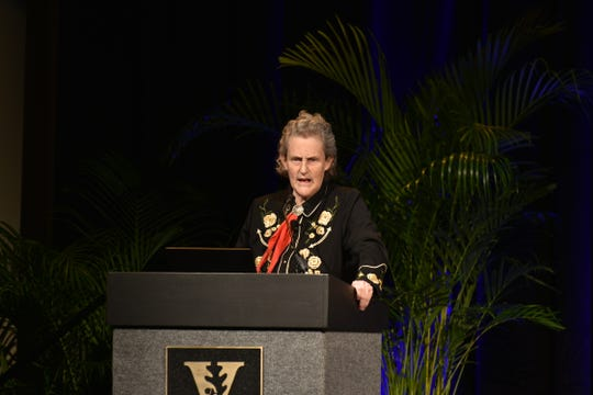 Author and professor Temple Grandin speaks as part of the 2018 Chancellor's Lecture series on Thursday, Nov. 29, 2018 in Vanderbilt's Student Life Center.