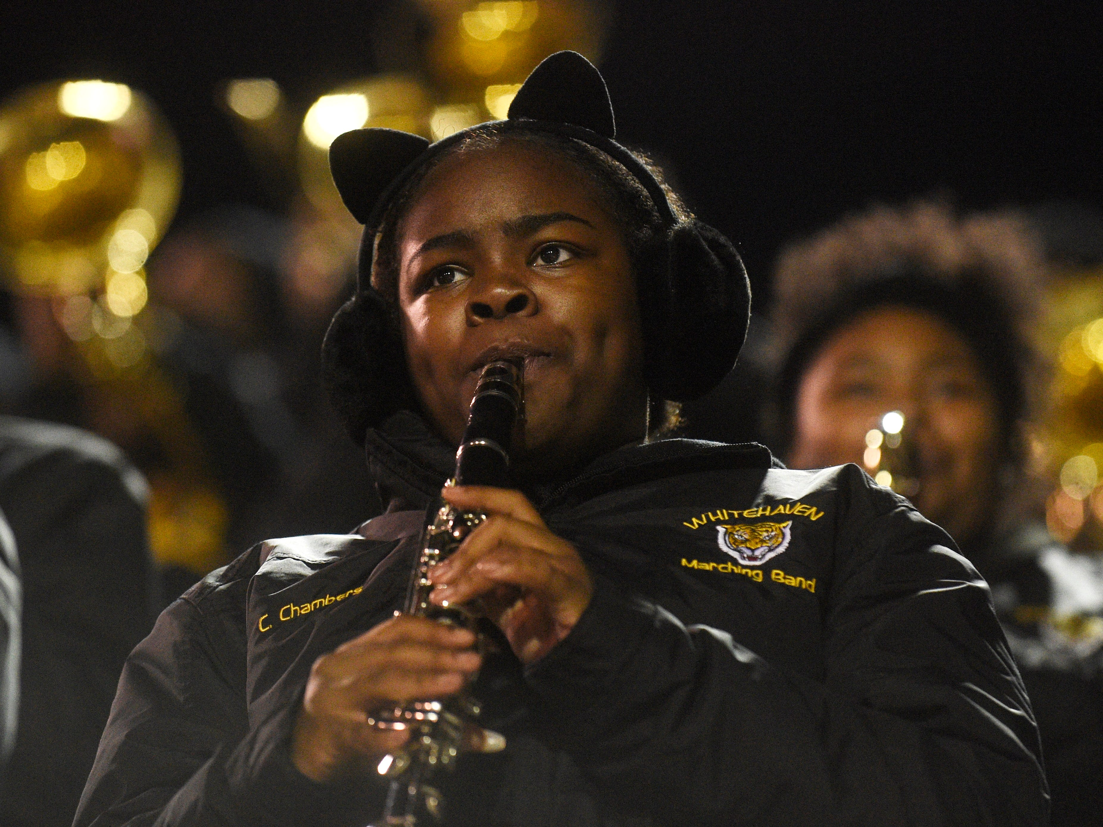 A Whitehaven band member plays during the Class 6A BlueCross Bowl state championship at Tennessee Tech's Tucker Stadium in Cookeville, Tenn., on Thursday, Nov. 29, 2018.