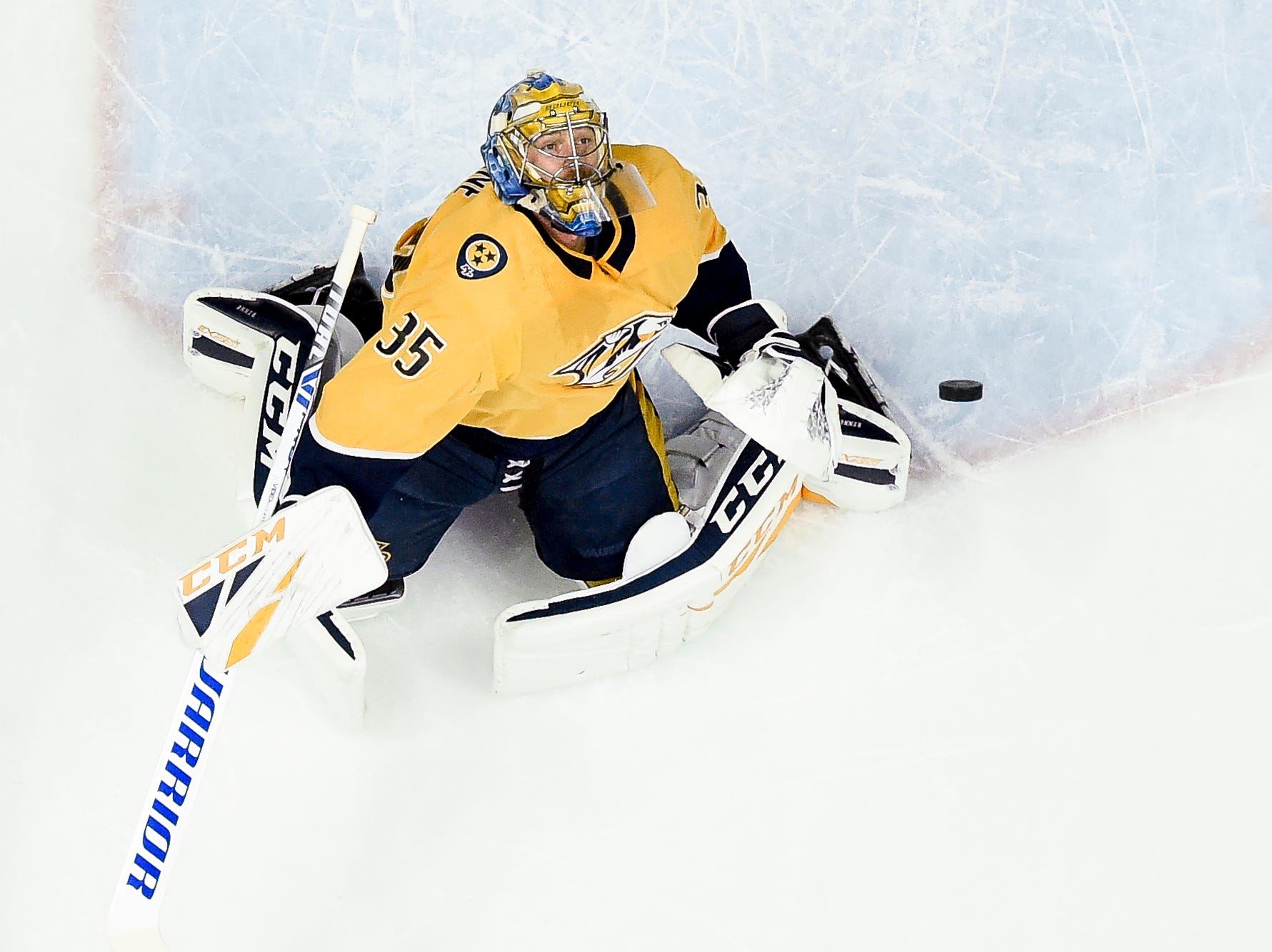 Nashville Predators goaltender Pekka Rinne (35) watches an Arizona Coyotes shot during the first period at Bridgestone Arena in Nashville, Tenn., Thursday, Nov. 29, 2018.