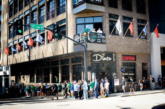 The Diner, shown here when Philadelphia Eagles fans came to town for a game against the Titans, is one of a number of restaurants and sports bars that will attract customers for the Super Bowl on Sunday, Feb. 3.