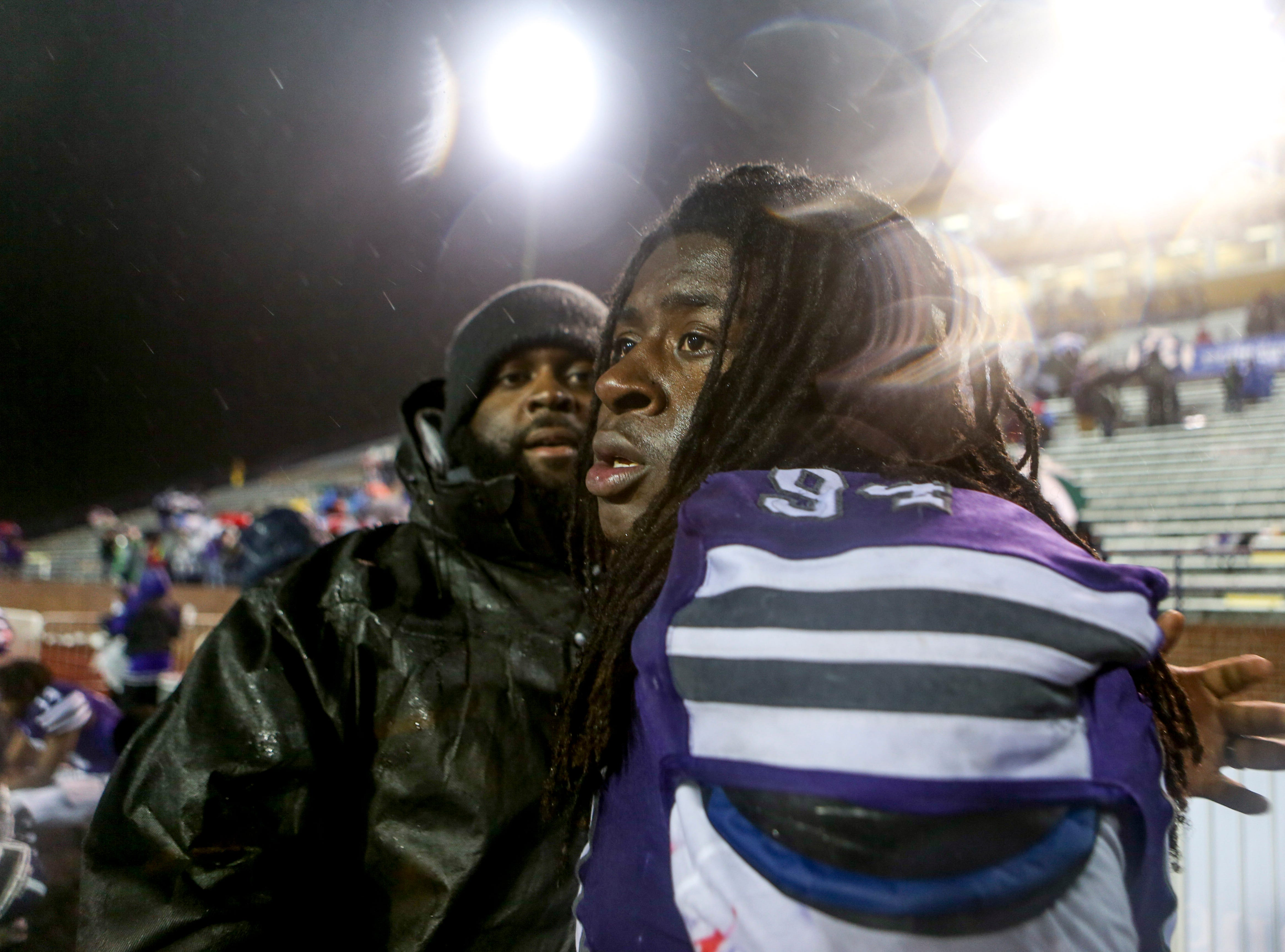 Haywood's Derrion Bell (94) looks out over the field to his teammates after losing the Class 4A Blue Cross Bowl between Haywood and Greeneville at Tennessee Tech's Tucker Stadium in Cookeville, Tenn., on Thursday, Nov. 29, 2018.