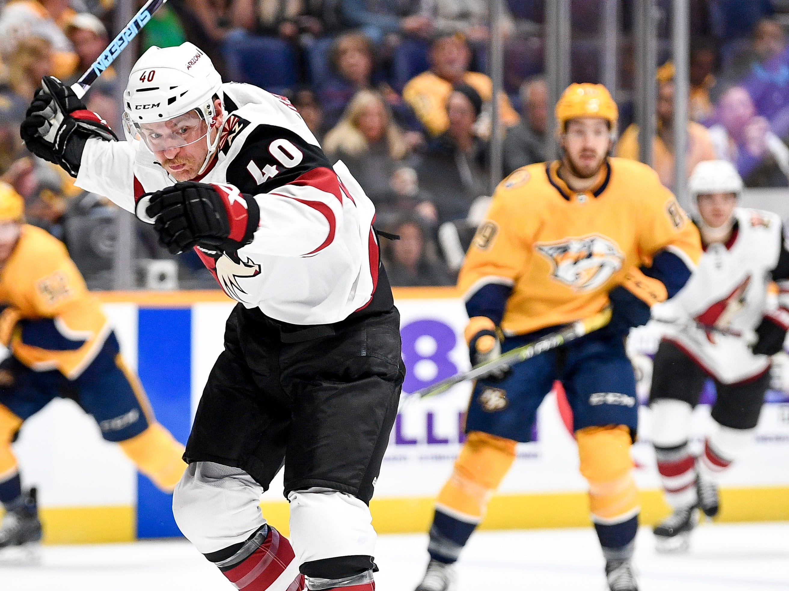 Arizona Coyotes right wing Michael Grabner (40) chases the puck during the second period against the Nashville Predators at Bridgestone Arena in Nashville, Tenn., Thursday, Nov. 29, 2018.