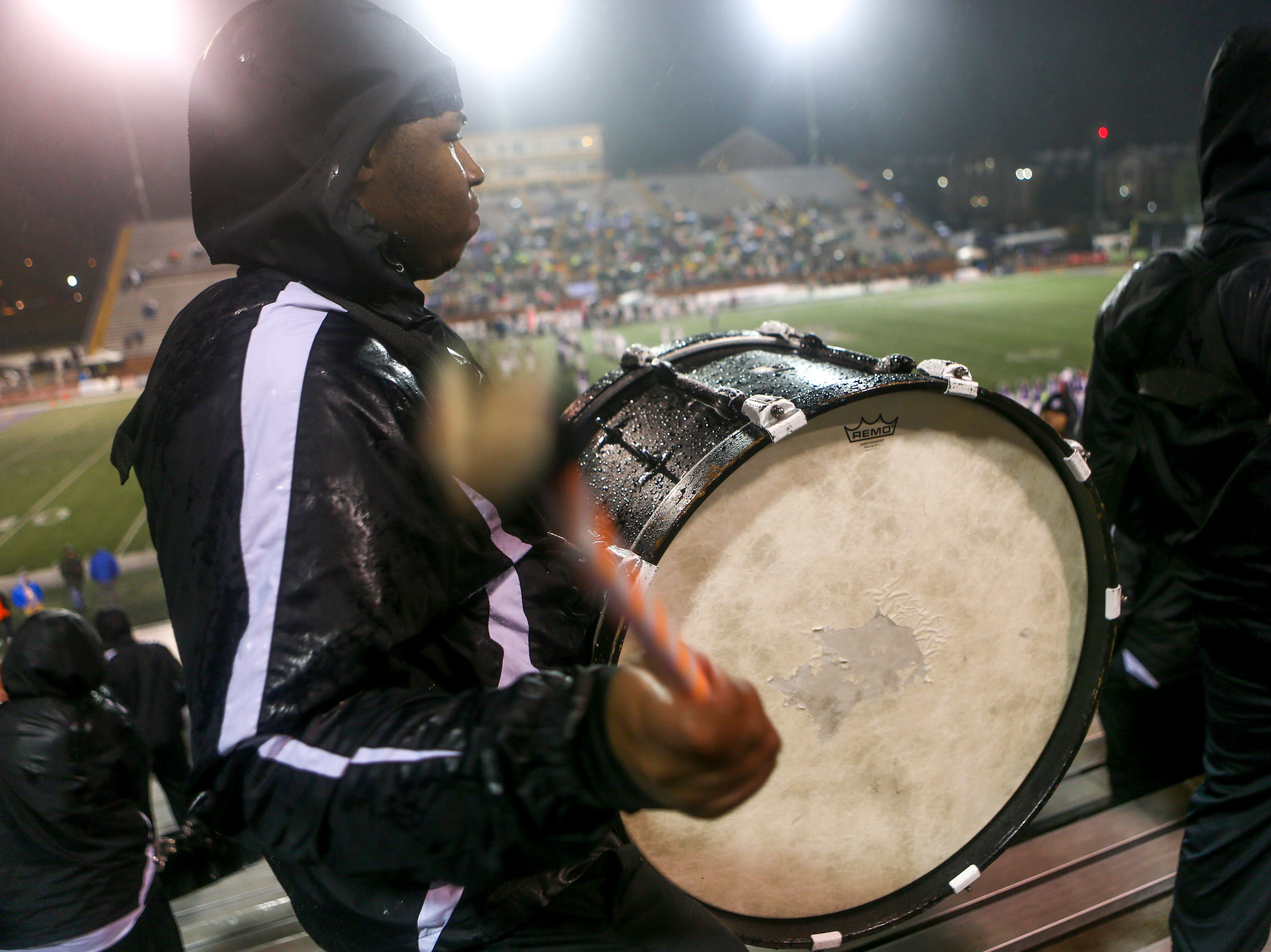 Tereon Taylor pays on his bass drum for a cadence during the Class 4A Blue Cross Bowl between Haywood and Greeneville at Tennessee Tech's Tucker Stadium in Cookeville, Tenn., on Thursday, Nov. 29, 2018.
