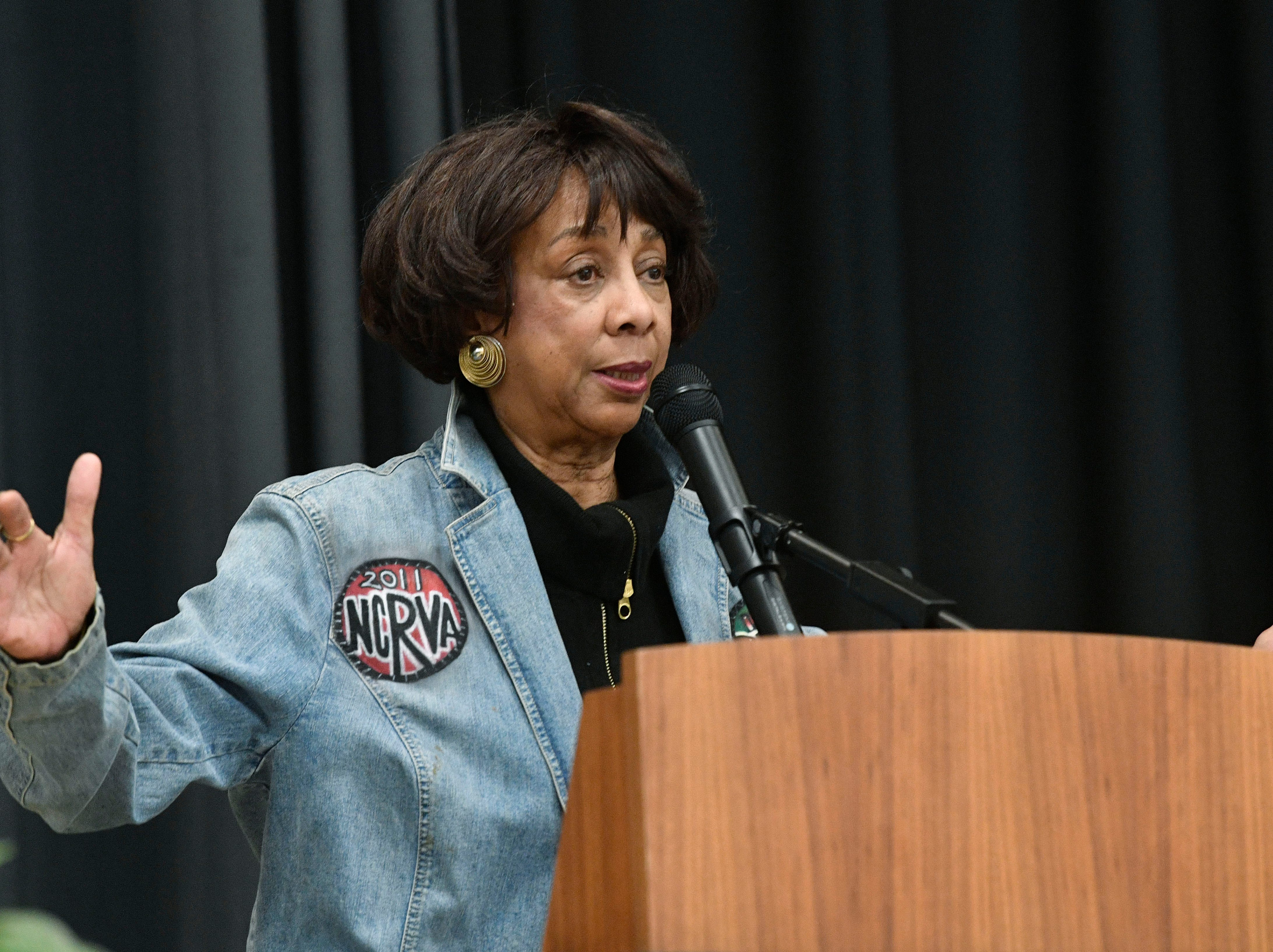 Gloria McKissack talks about her experiences during the civil rights movement in Nashville as a college student.A significant part of We Shall Overcome exhibition will be presented at the Robert Churchwell Museum Magnet School beginning November 30. To celebrate its opening, the school hosted an assembly that featured remarks by the principal and a conversation with several participants, including Lajuanda Street Harley, Kwame Lillard, Rip Patton, and Gloria McKissack. Friday Nov. 30, 2018, in Nashville, Tenn.