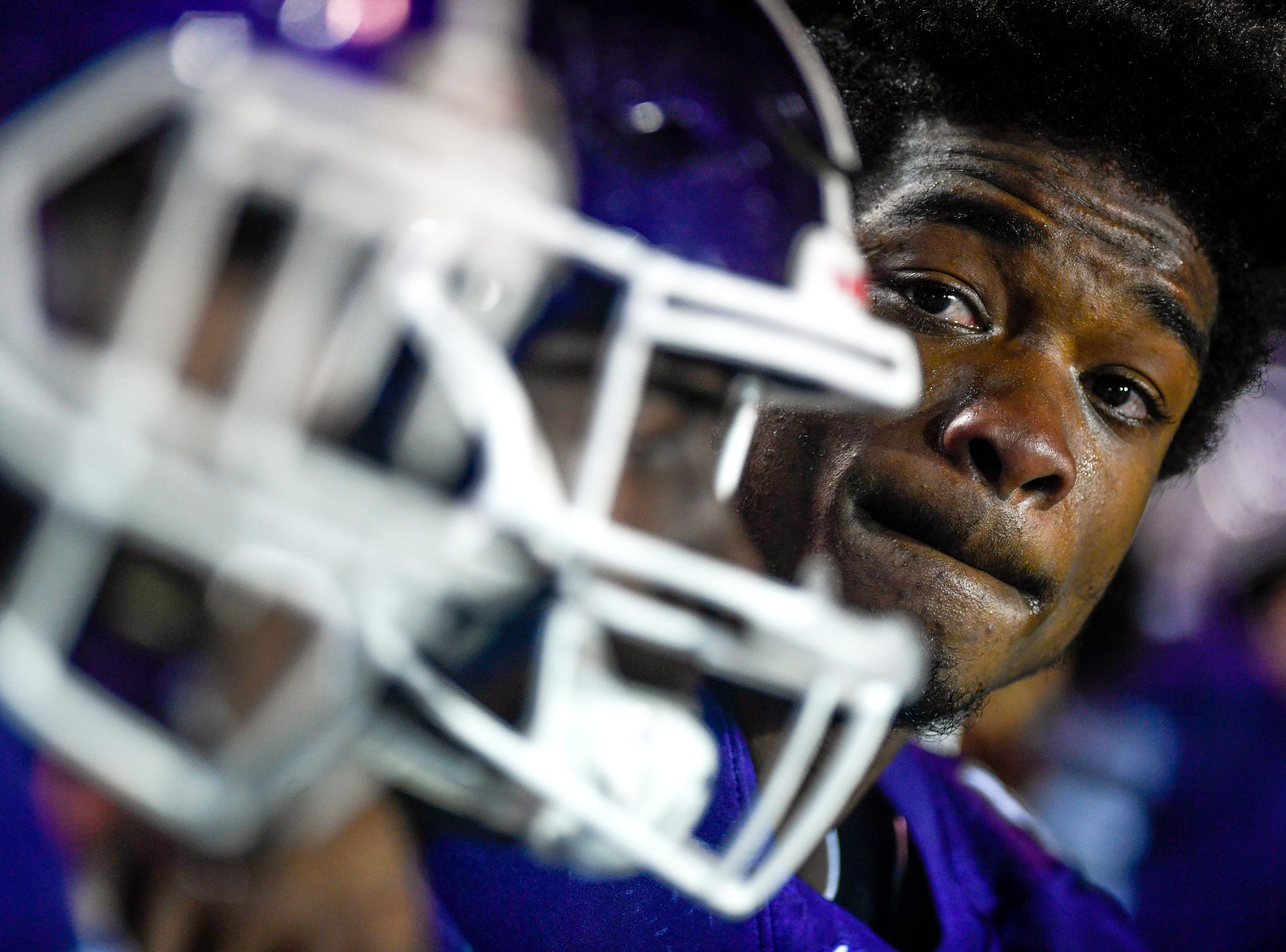 Haywood's Jadarius Tyus (22) looks down the line of two of his teammates after losing the Class 4A Blue Cross Bowl between Haywood and Greeneville at Tennessee Tech's Tucker Stadium in Cookeville, Tenn., on Thursday, Nov. 29, 2018.