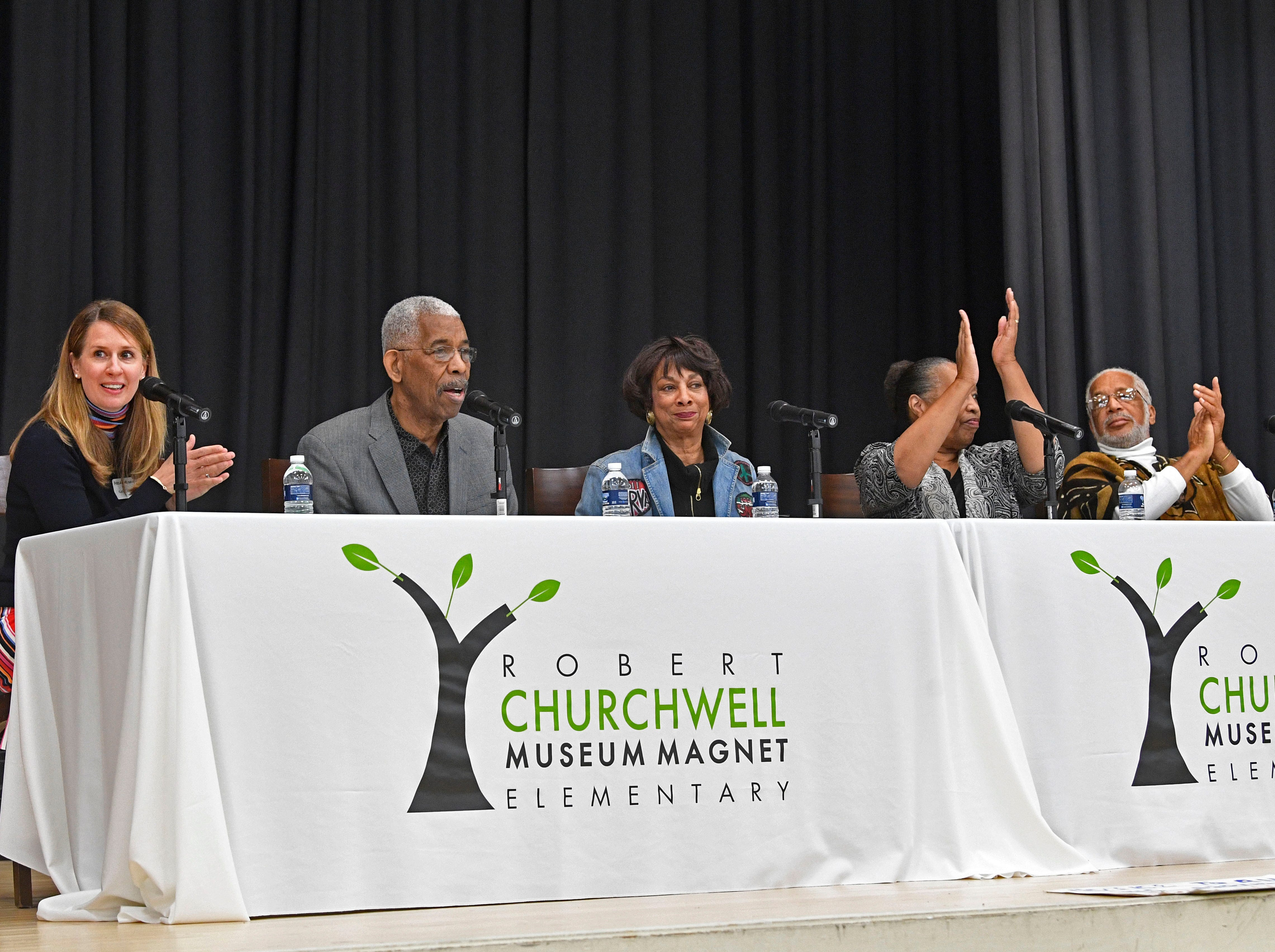 A significant part of We Shall Overcome exhibition will be presented at the Robert Churchwell Museum Magnet School beginning November 30. To celebrate its opening, the school hosted an assembly that featured remarks by the principal and a conversation with several participants, including Lajuanda Street Harley, Kwame Lillard, Rip Patton, and Gloria McKissack.