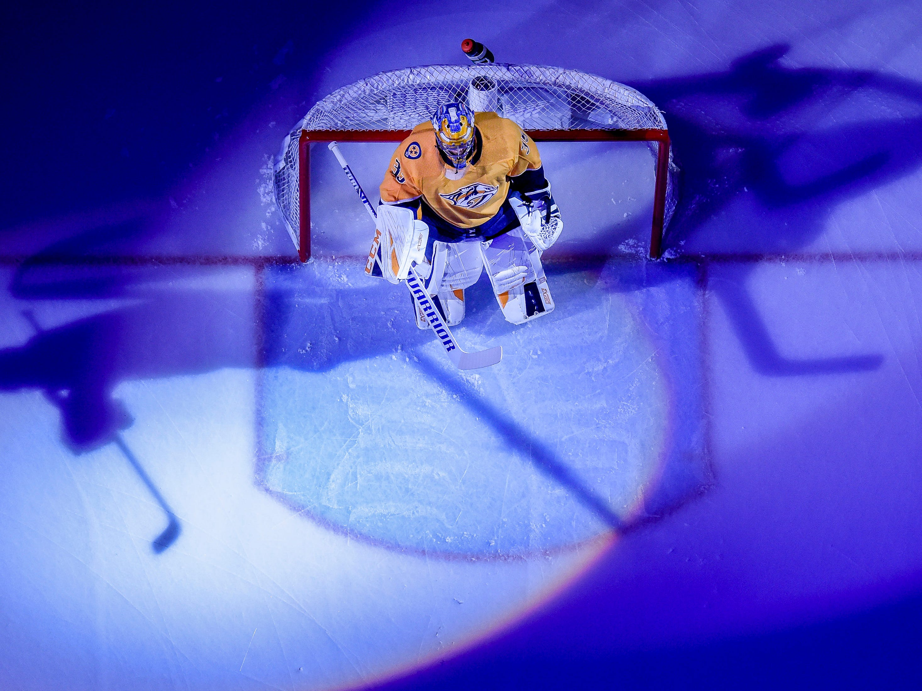 Nashville Predators goaltender Pekka Rinne (35) is introduced before facing the Arizona Coyotes at Bridgestone Arena in Nashville, Tenn., Thursday, Nov. 29, 2018.