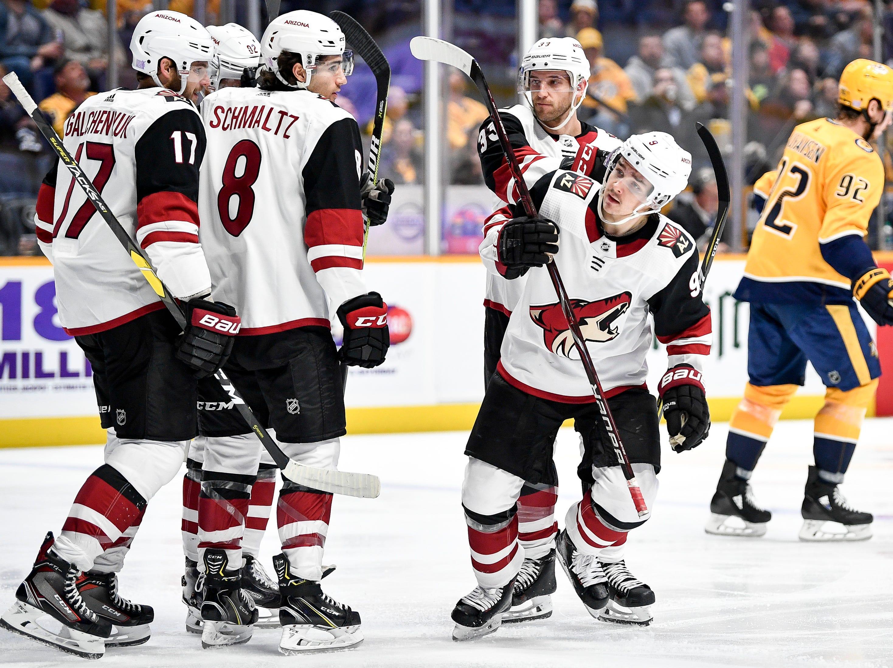 Arizona Coyotes center Clayton Keller (9) reacts to scoring against the Nashville Predators during the second period at Bridgestone Arena in Nashville, Tenn., Thursday, Nov. 29, 2018.